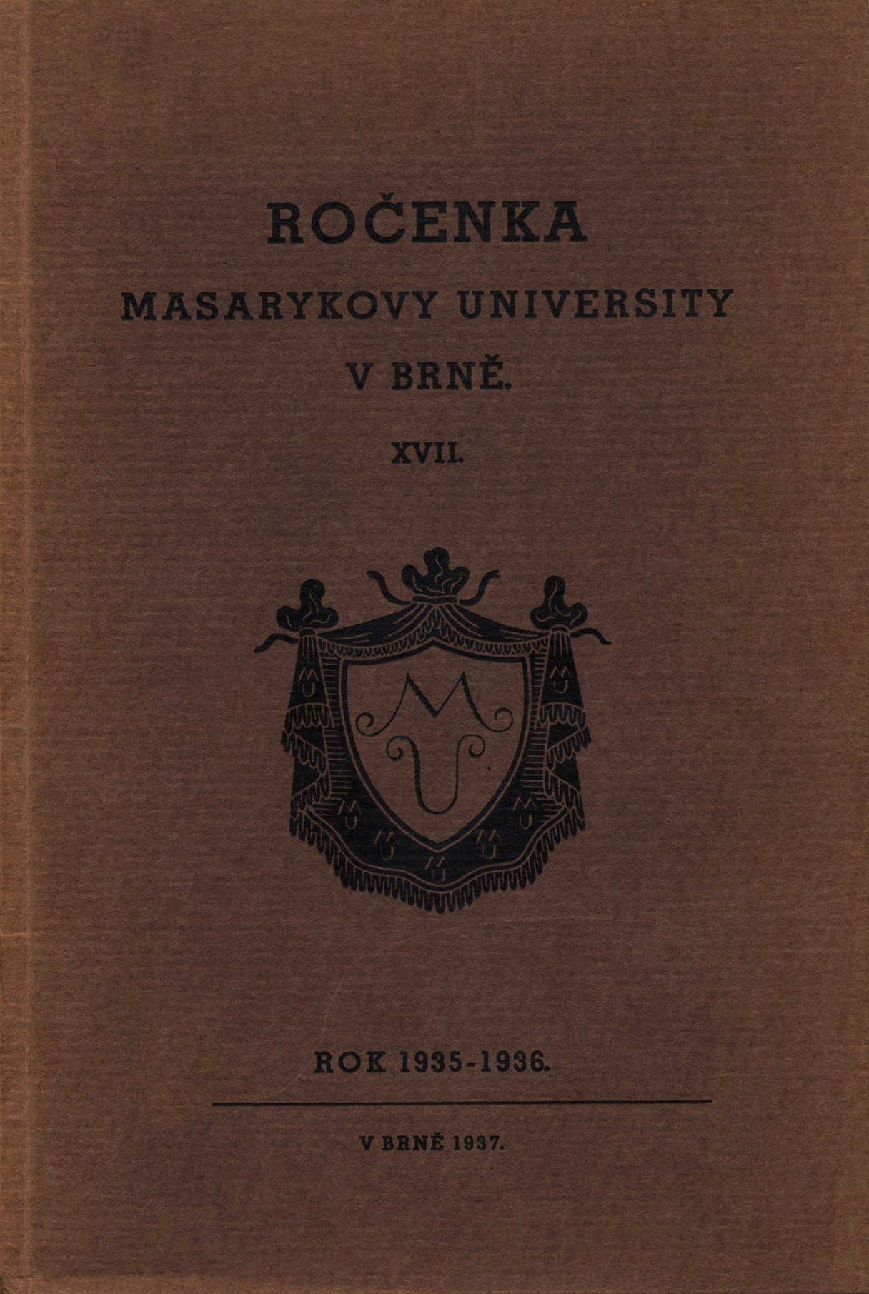 Obálka pro Ročenka Masarykovy university v Brně. XVII, Rok 1935-1936
