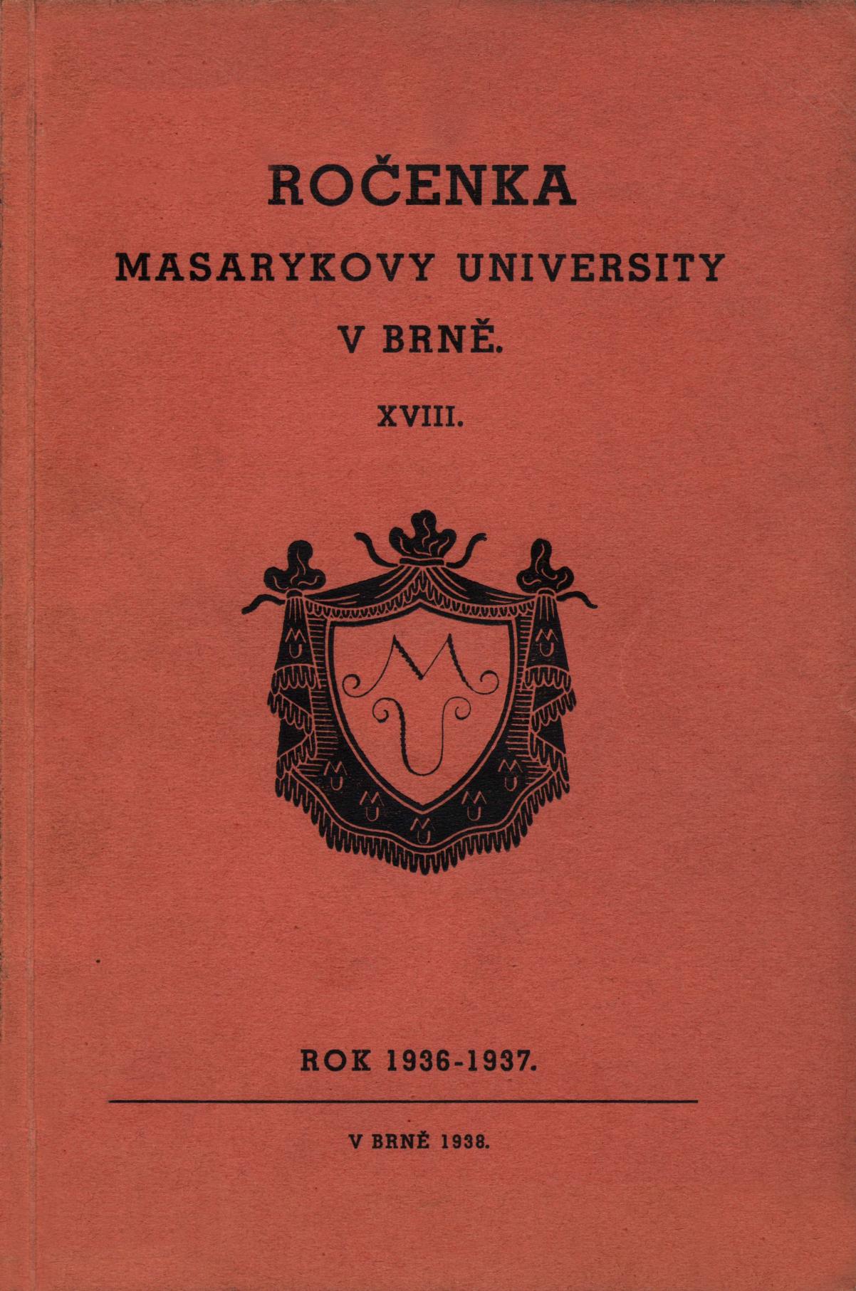 Obálka pro Ročenka Masarykovy university v Brně. XVIII, Rok 1936-1937