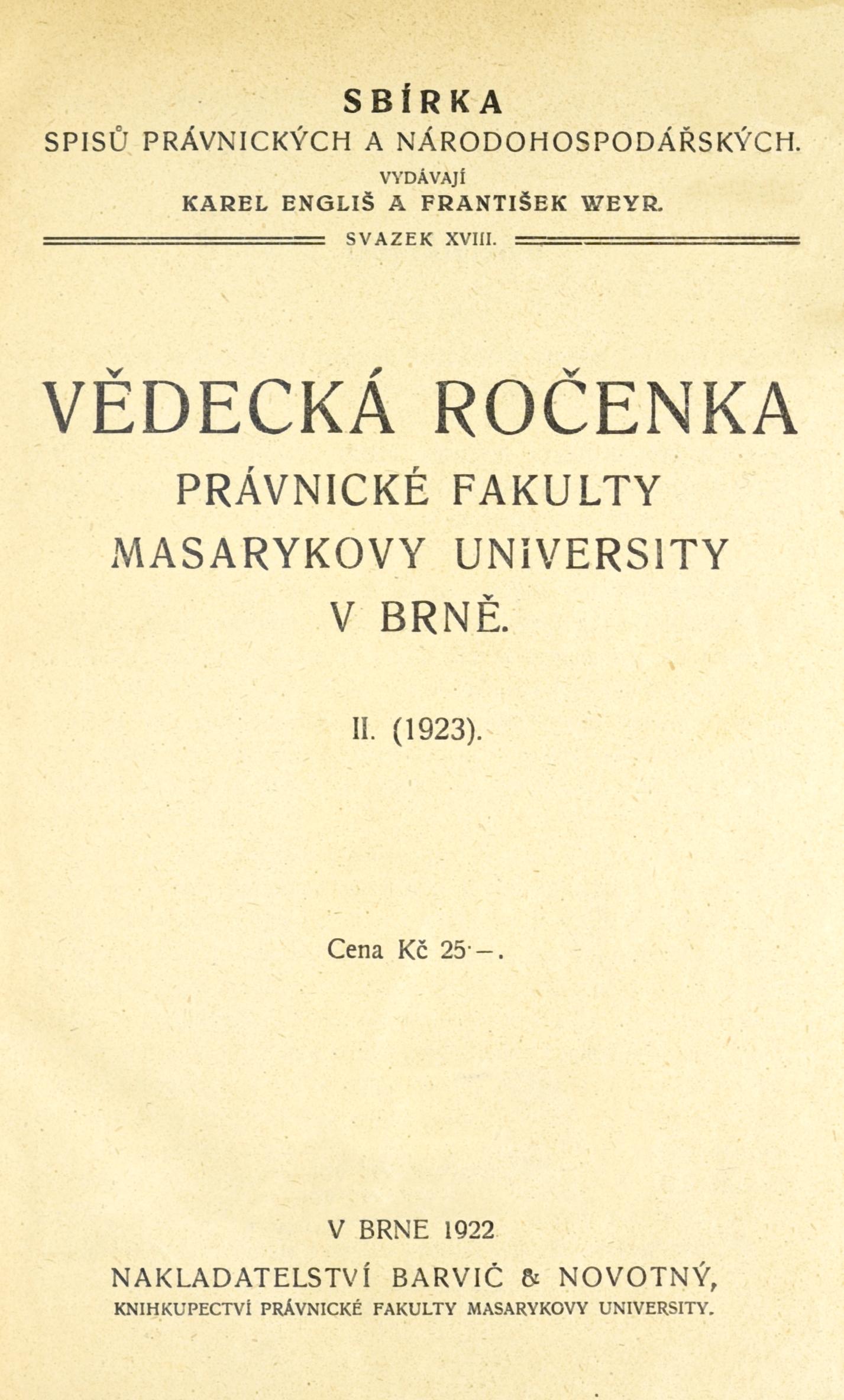 Obálka pro Vědecká ročenka právnické fakulty Masarykovy university v Brně. 2. (1923)