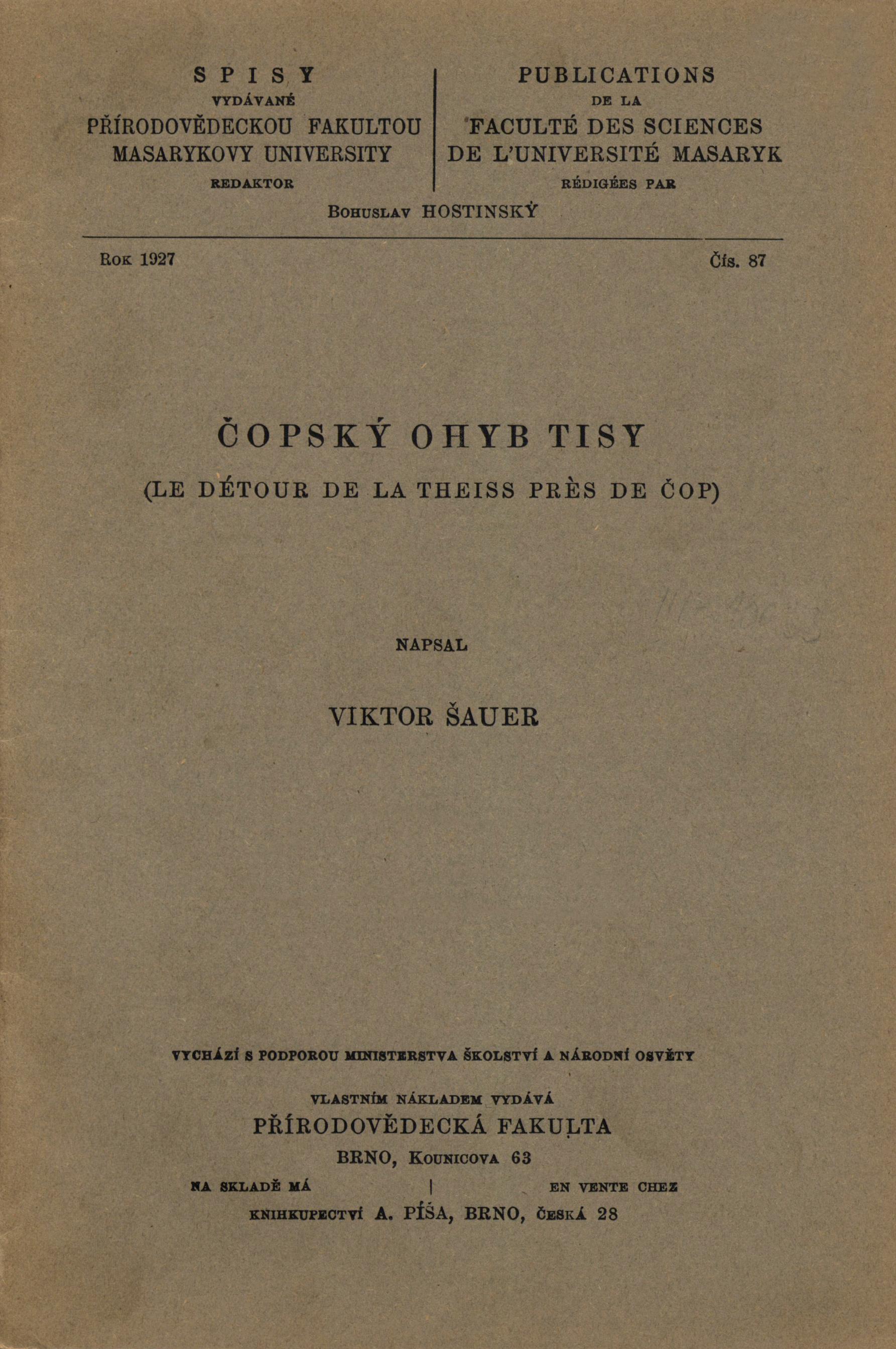 Obálka pro Čopský ohyb Tisy/Le détour de la Theiss pres de Čop