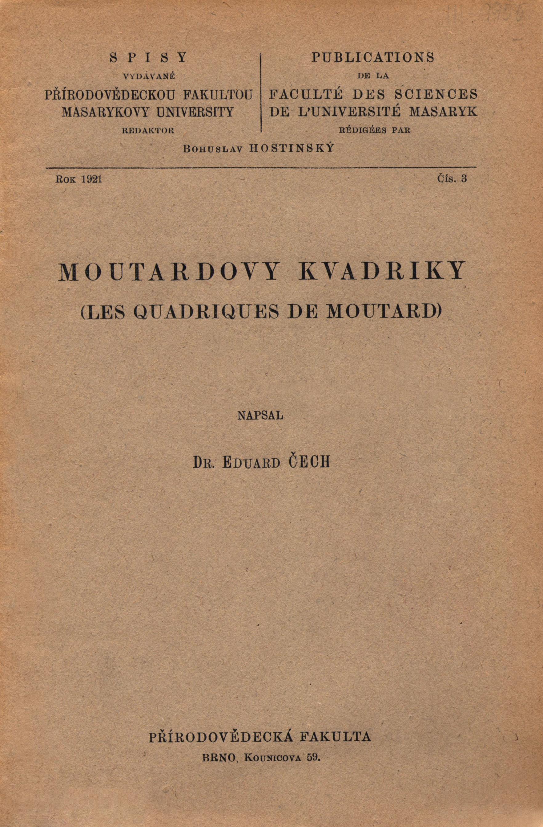 Obálka pro Moutardovy kvadriky/Les quadriques de Moutard