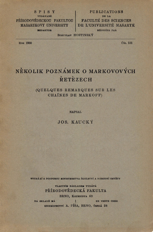 Obálka pro Několik poznámek o Markovových řetězech/Quelques remarques sur les chaînes de Markoff