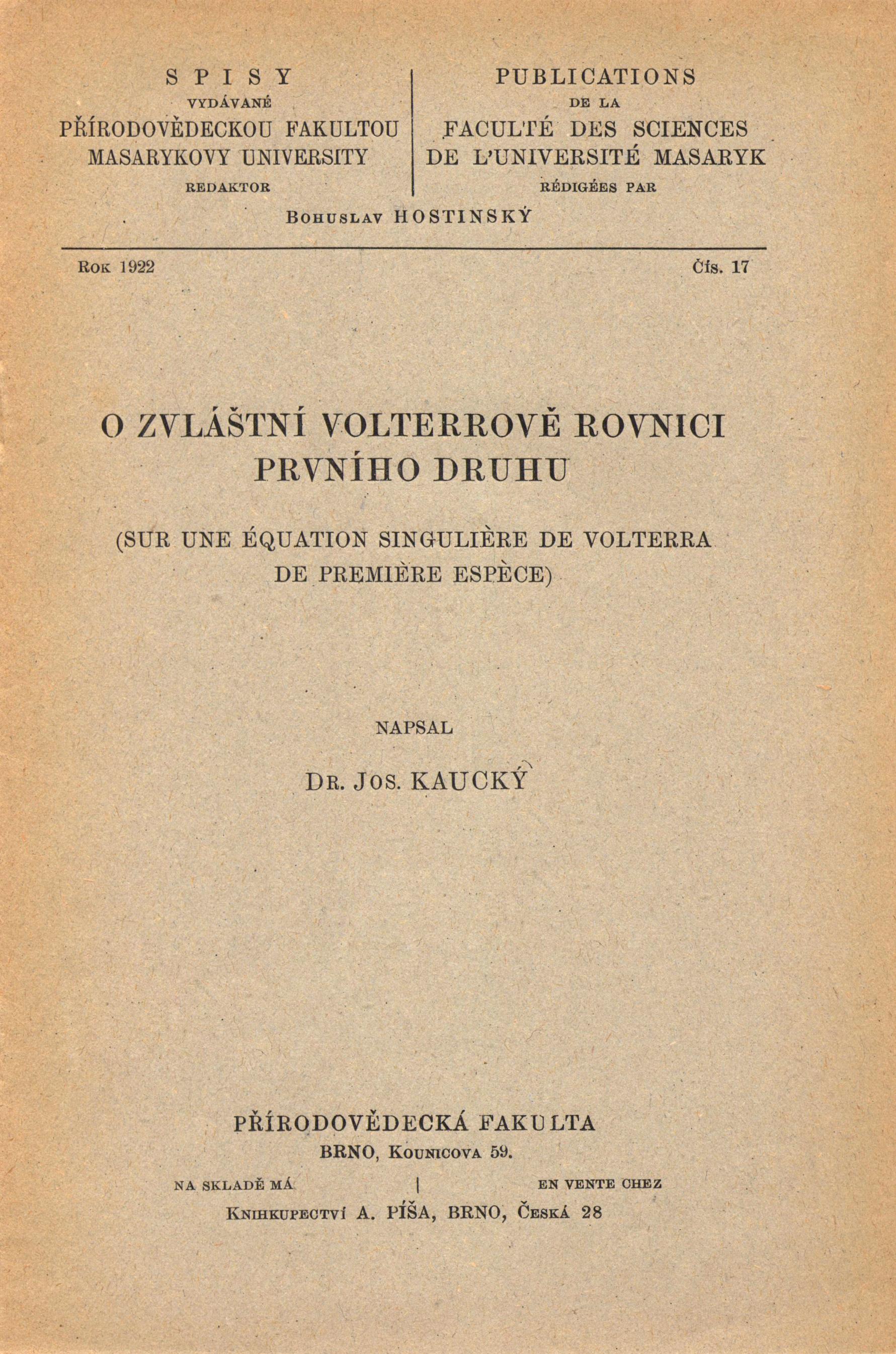 Obálka pro O zvláštní Volterrově rovnici prvníh druhu/Sur une équation singulière de volterra de première espèce