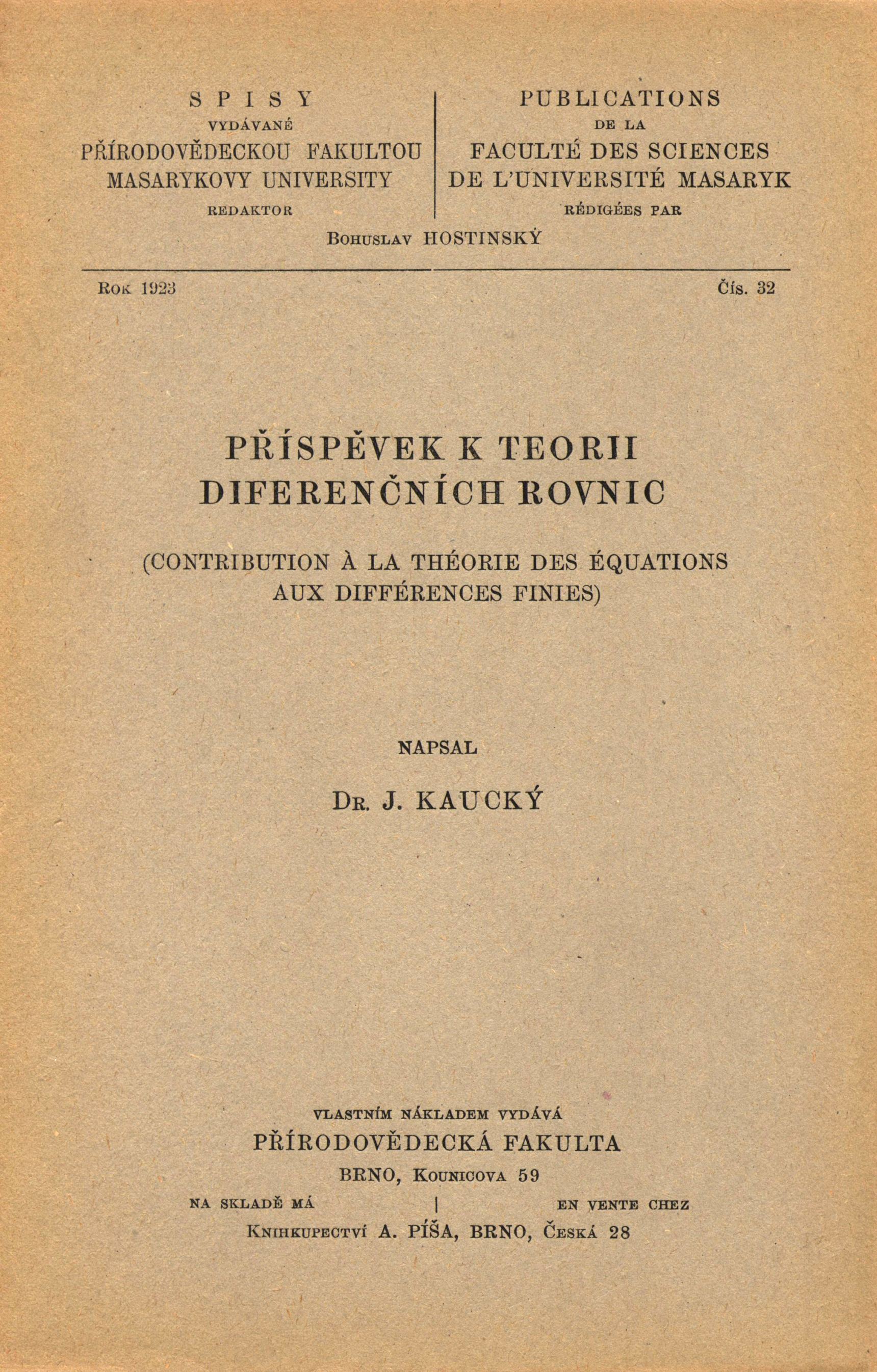 Obálka pro Příspěvek k teorii diferenčních rovnic/Contribution à la théorie des équations aux différences finies