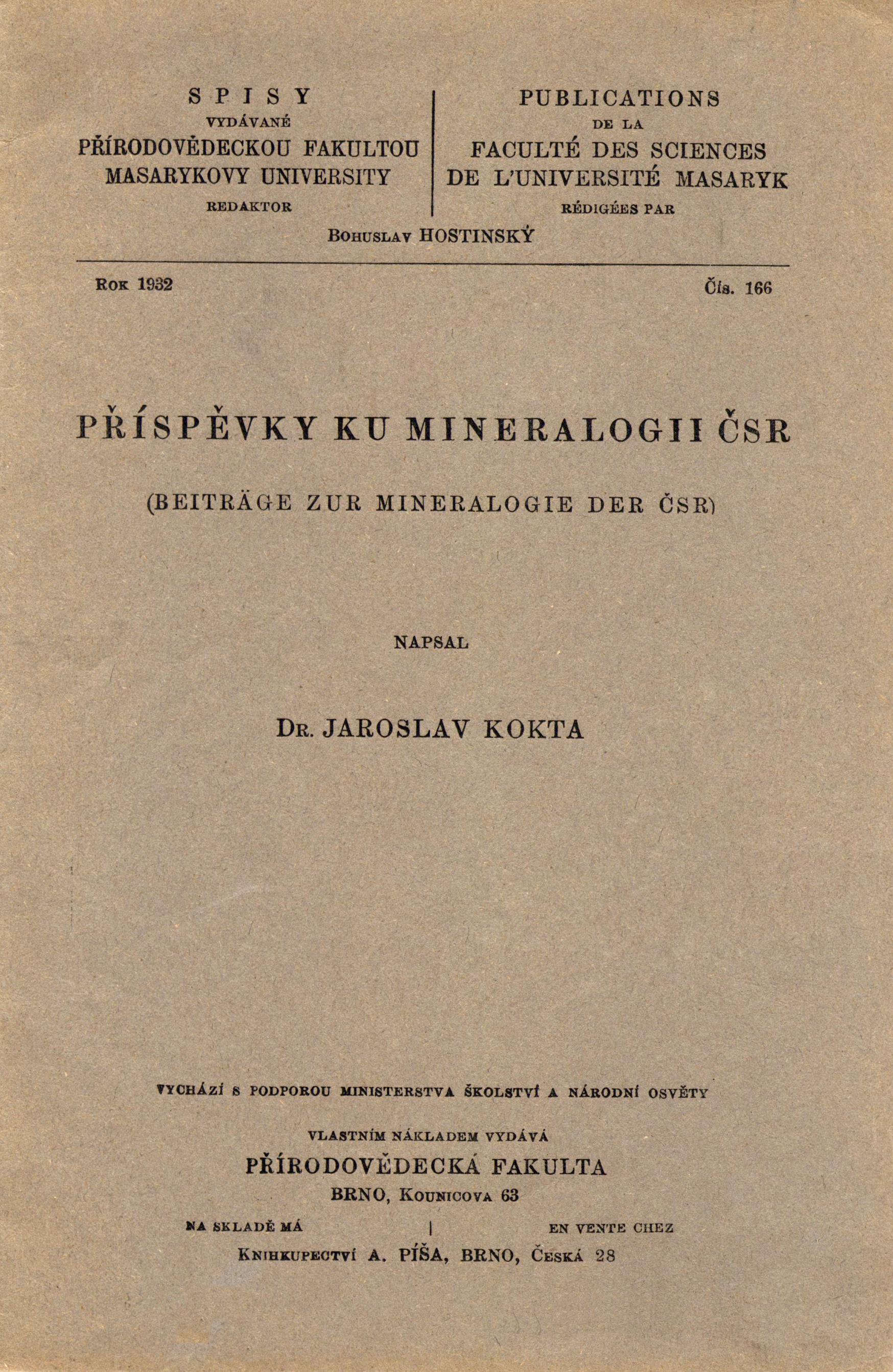 Obálka pro Příspěvky ku mineralogii ČSR/Beiträge zur Mineralogie der ČSR
