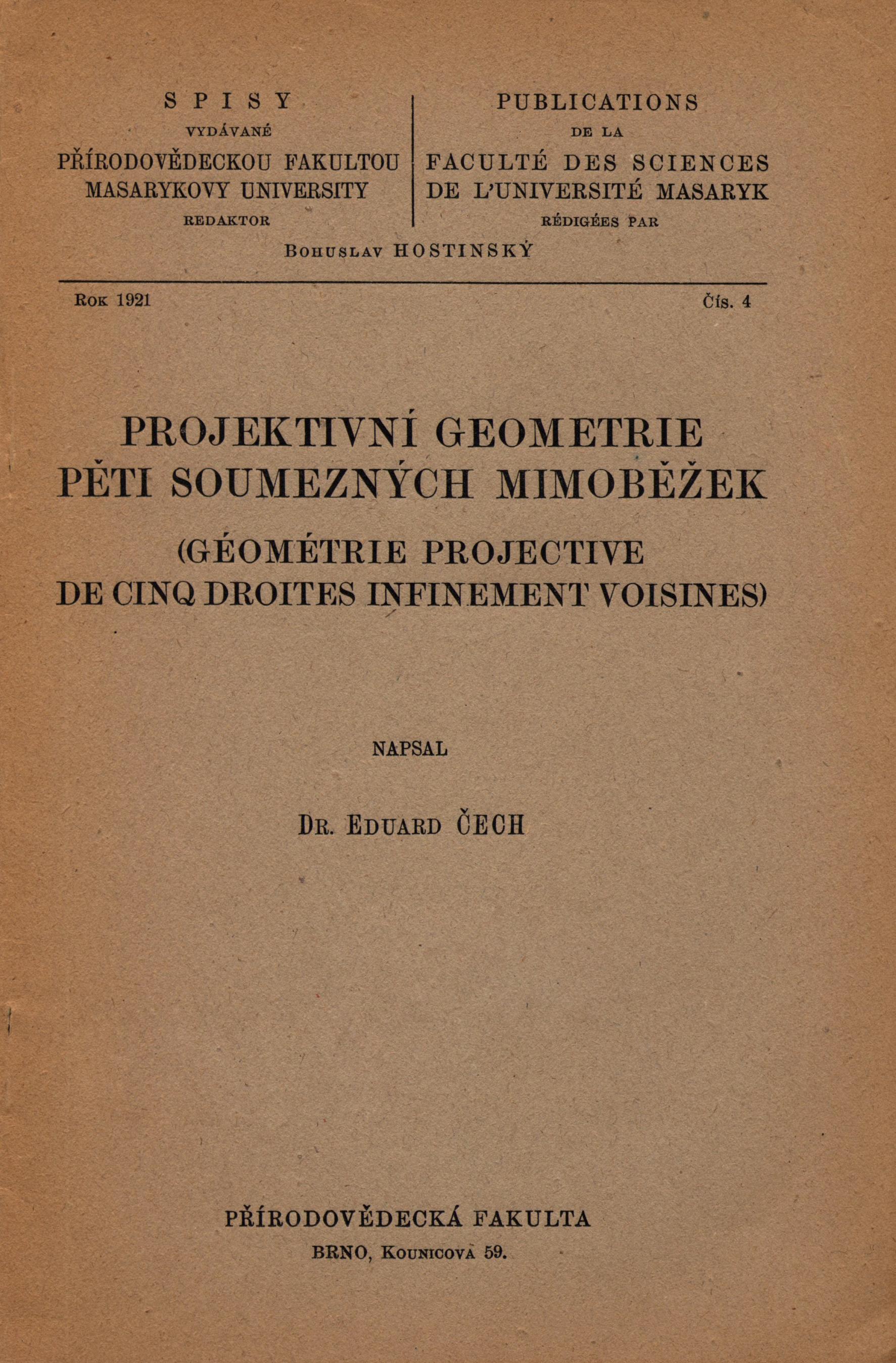 Obálka pro Projektivní geometrie pěti soumezných mimoběžek