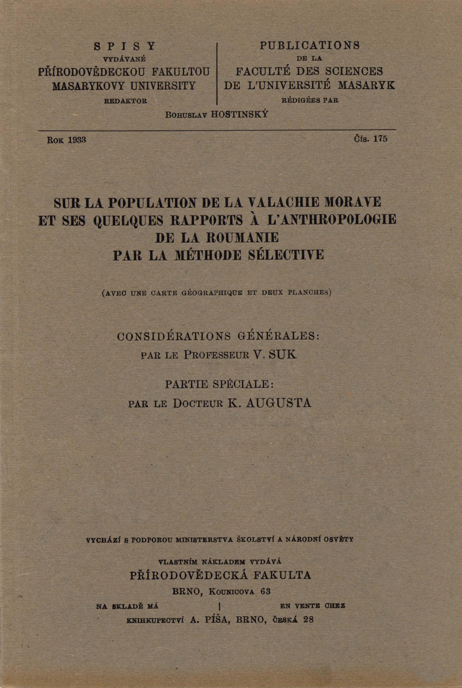 Obálka pro Sur la population de la Valachie morave et des quelques rapports a l'anthropologie de Roumanie de la méthode sélective : avec une carte géographique et deux planches
