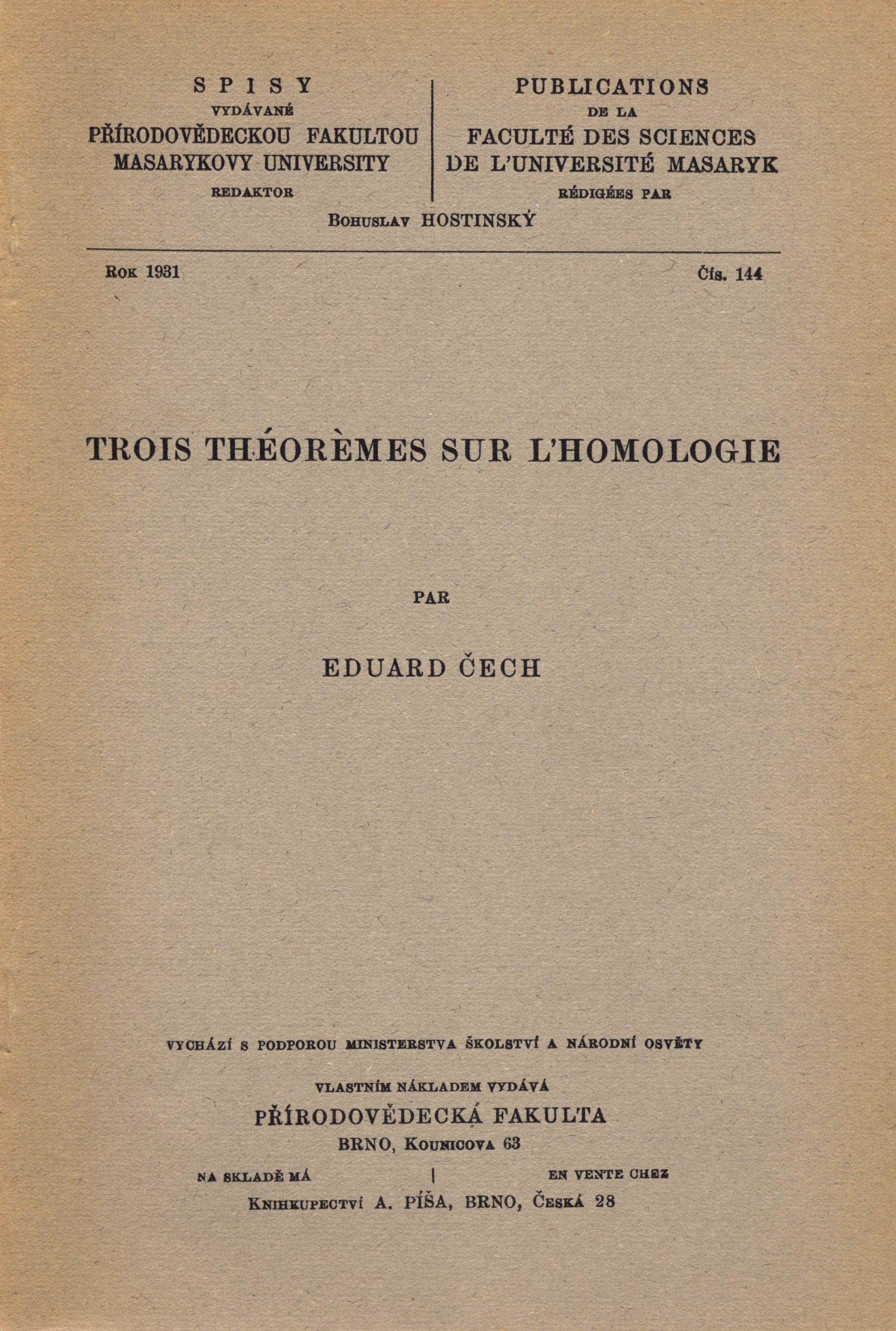 Obálka pro Trois théorémes sur l'homologie