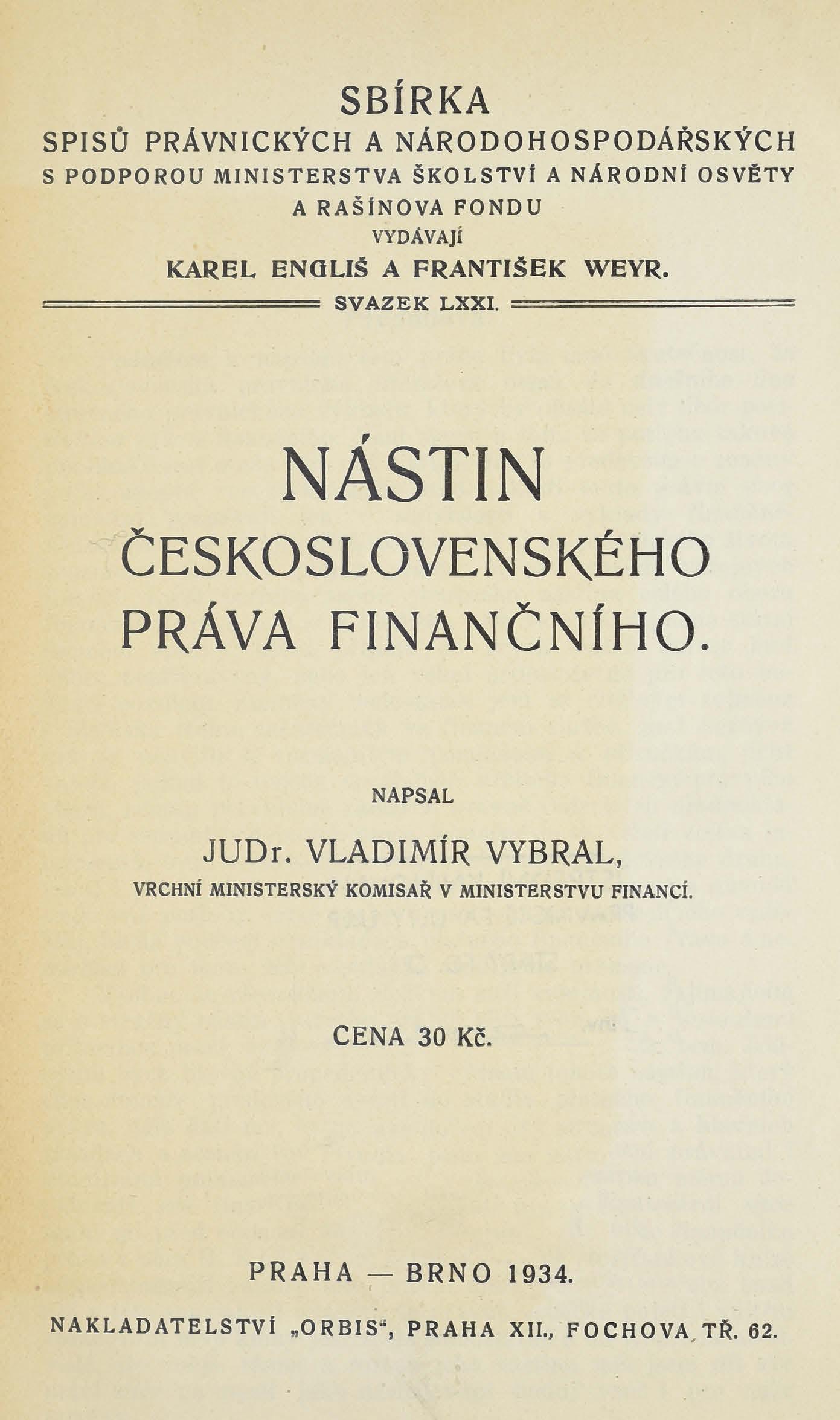 Obálka pro Nástin československého práva finančního