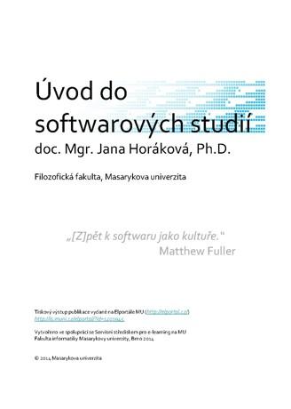 Obálka pro Úvod do softwarových studií. Multimediální elektronický výukový materiál