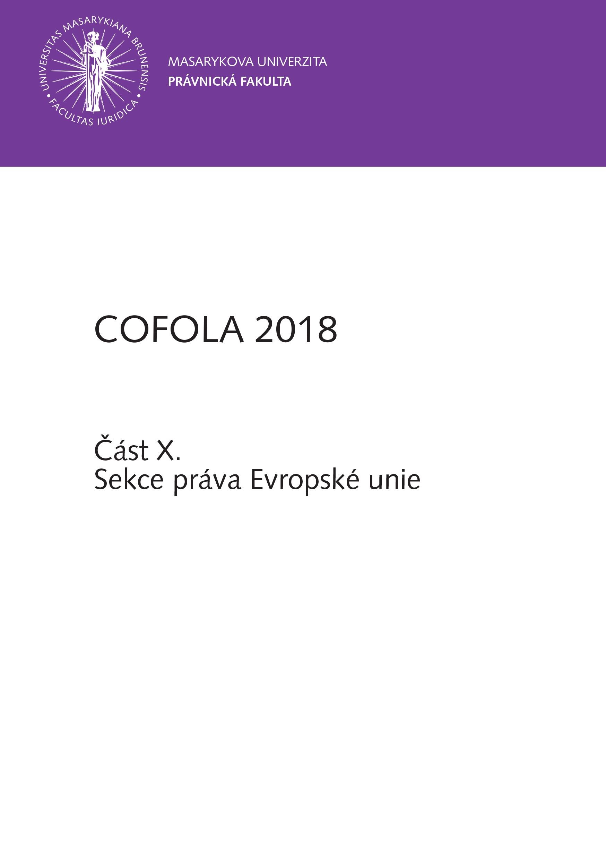 Obálka pro COFOLA 2018. Část X. - Sekce práva Evropské unie