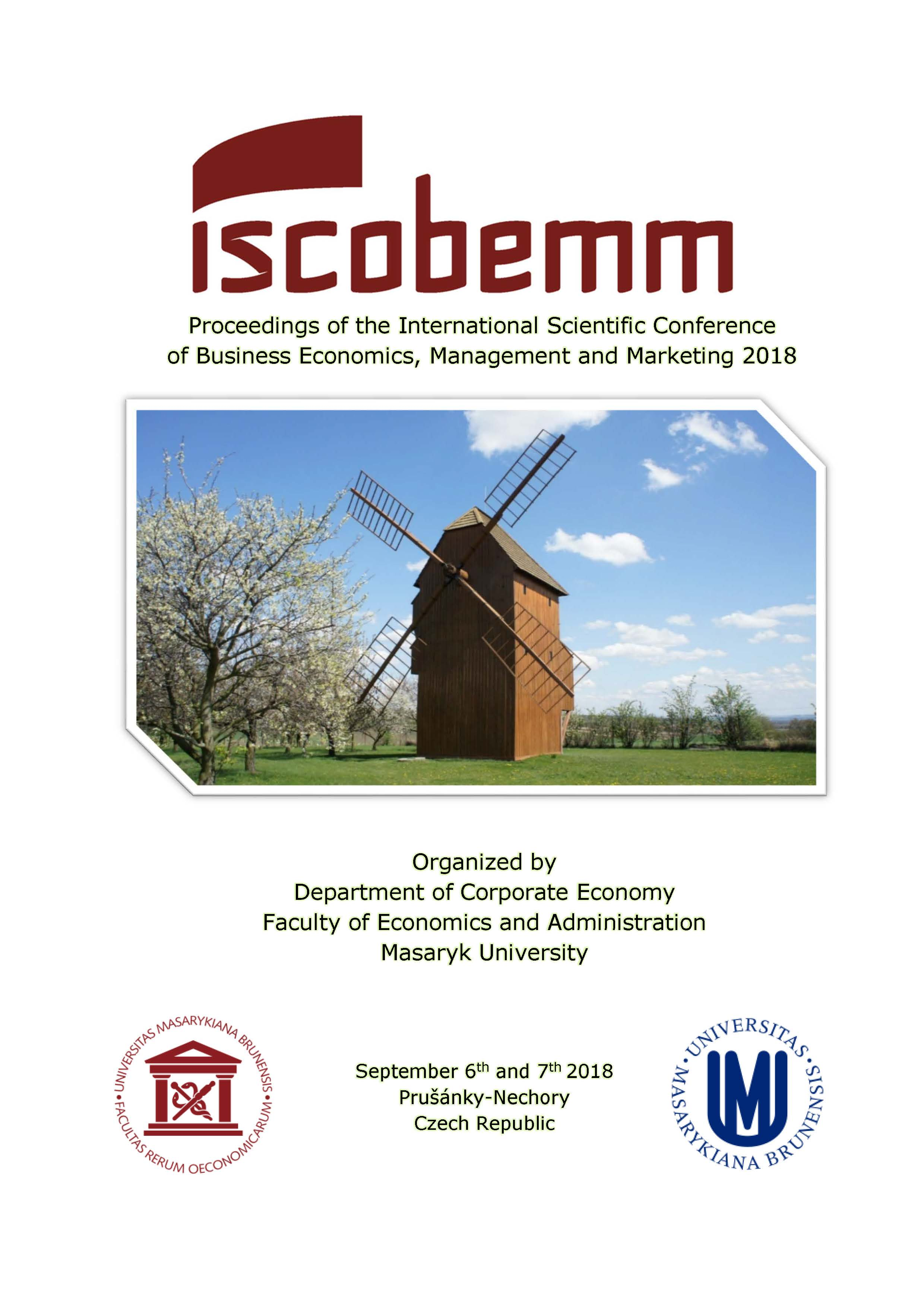 Obálka pro Proceedings of the International Scientific Conference of Business Economics, Management and Marketing 2018 (ISCOBEMM 2018)