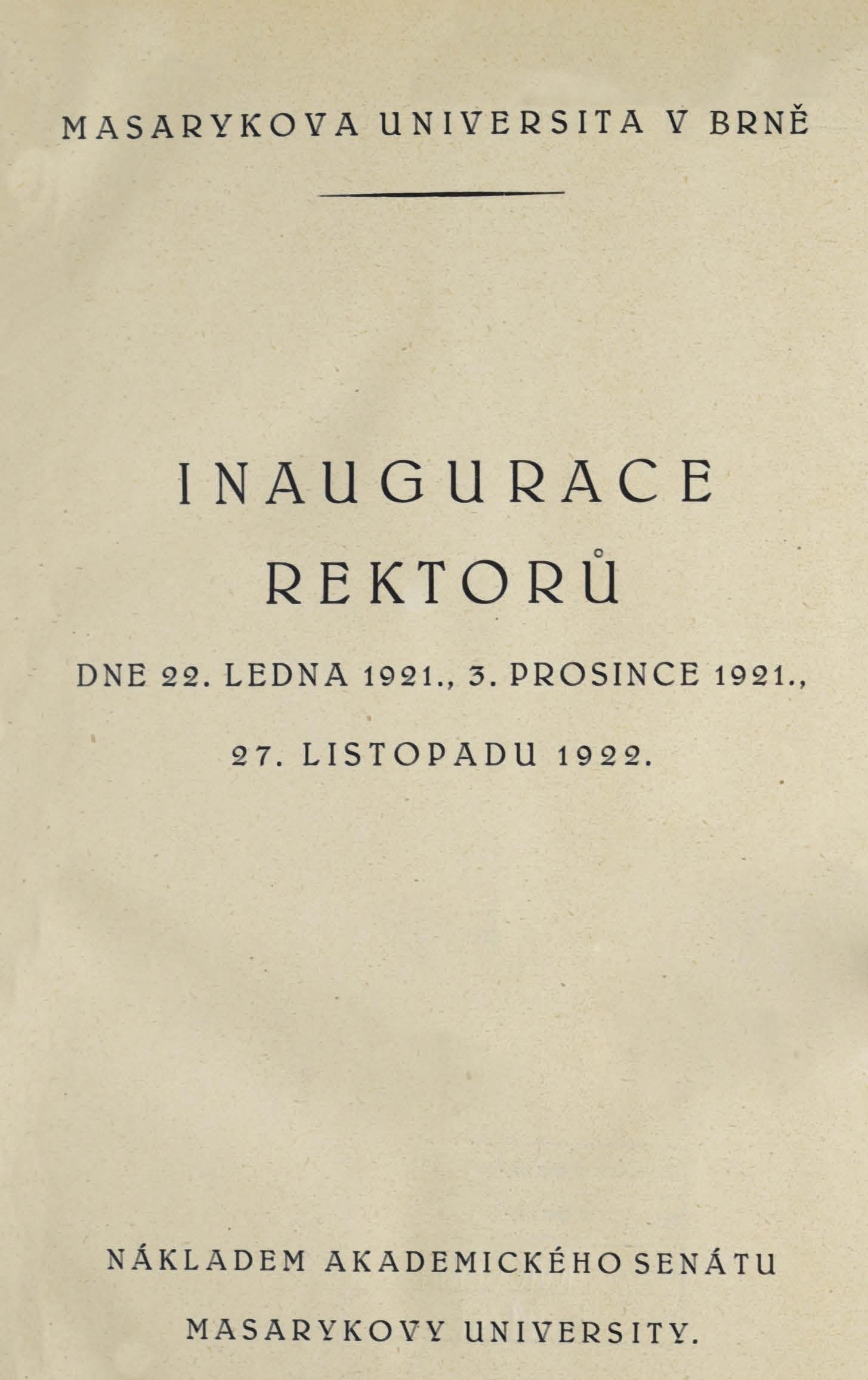 Obálka pro Inaugurace rektorů dne 22. ledna 1921, 3. prosince 1921, 27. listopadu 1922