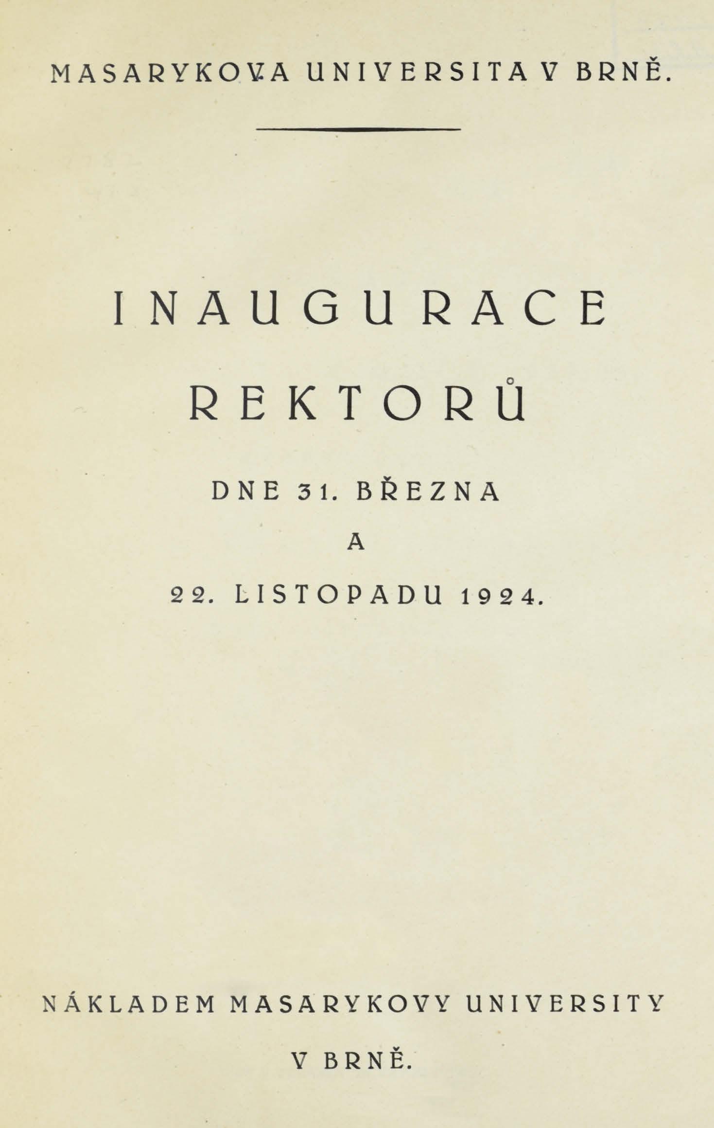 Obálka pro Inaugurace rektorů 3. III. a 22.XI. 1924