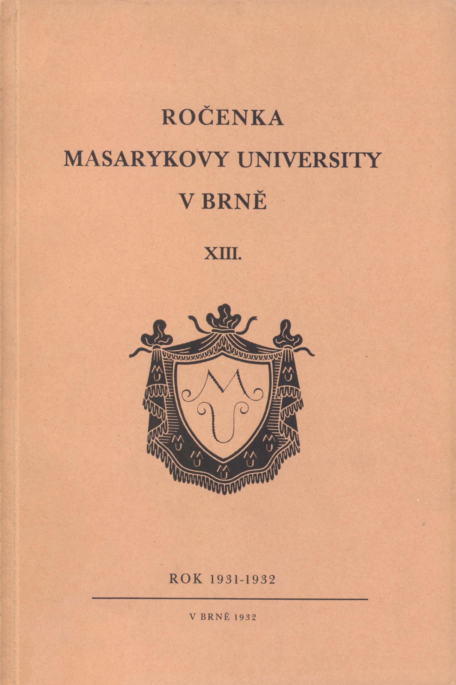 Obálka pro Ročenka Masarykovy university v Brně. XIII, Rok 1931-1932