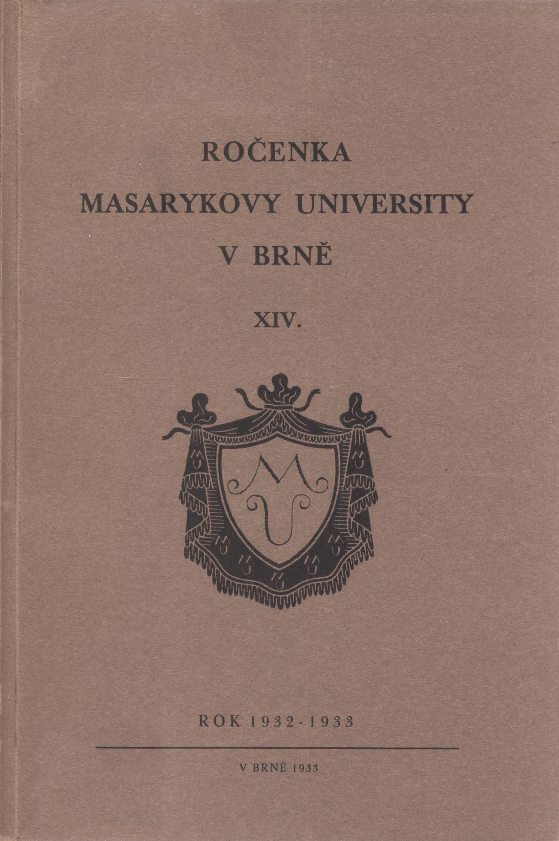 Obálka pro Ročenka Masarykovy university v Brně. XIV, Rok 1932-1933