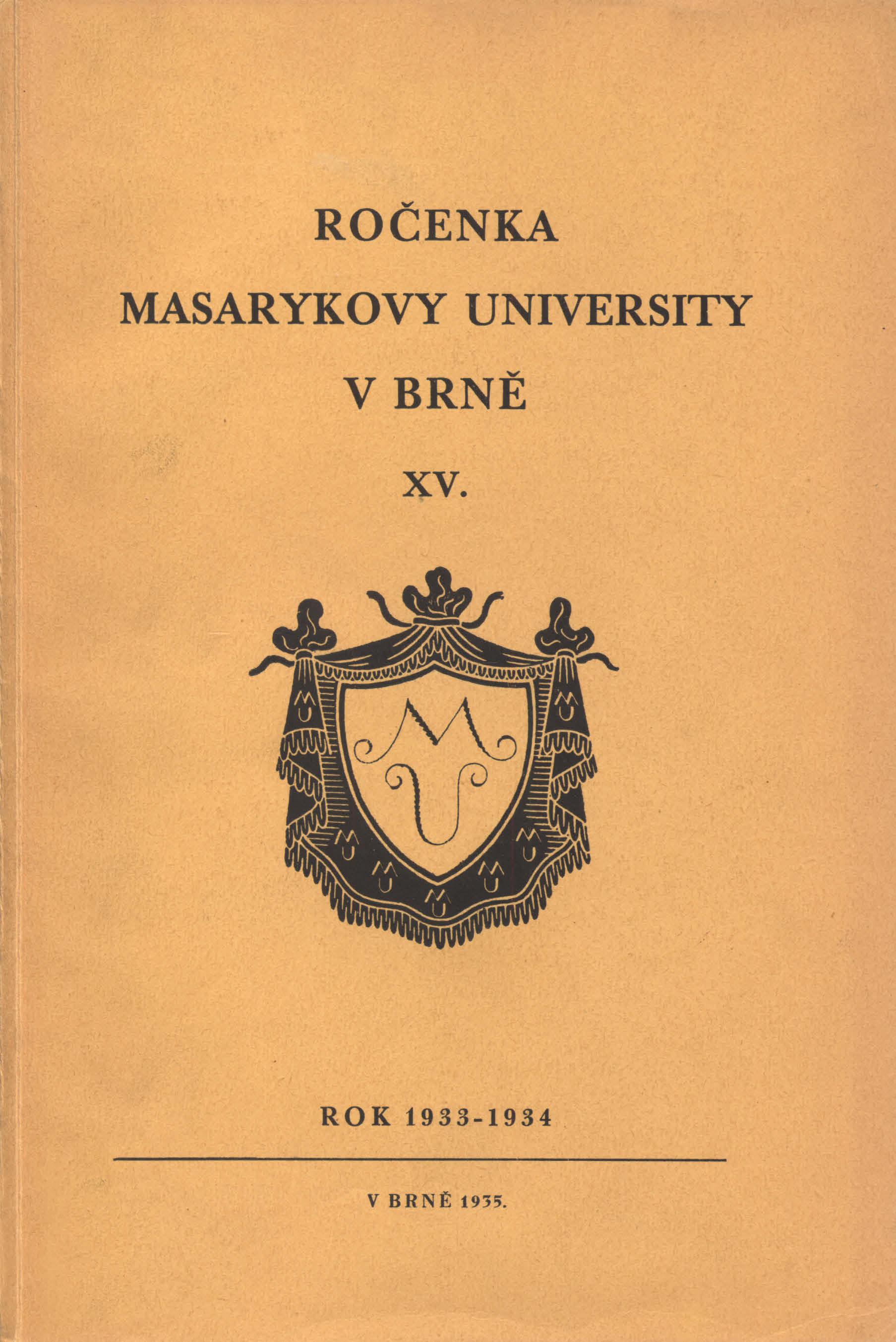 Obálka pro Ročenka Masarykovy university v Brně. XV, Rok 1933-1934