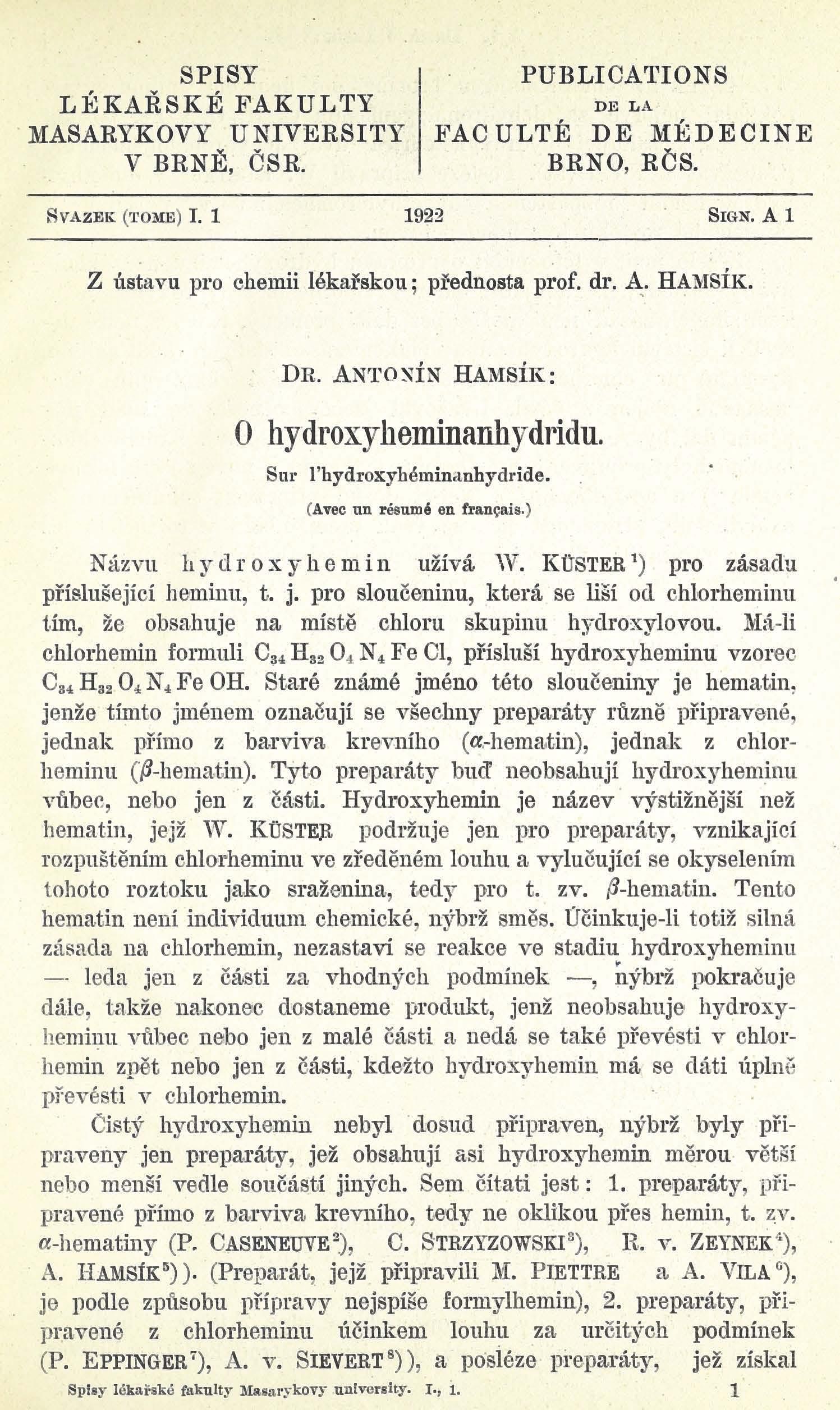 Obálka pro O hydroxyheminanhydridu / Sur l'hydroxyheminanhydride