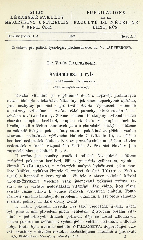 Obálka pro Avitaminosa u ryb / Sur l'avitaminose des poissons