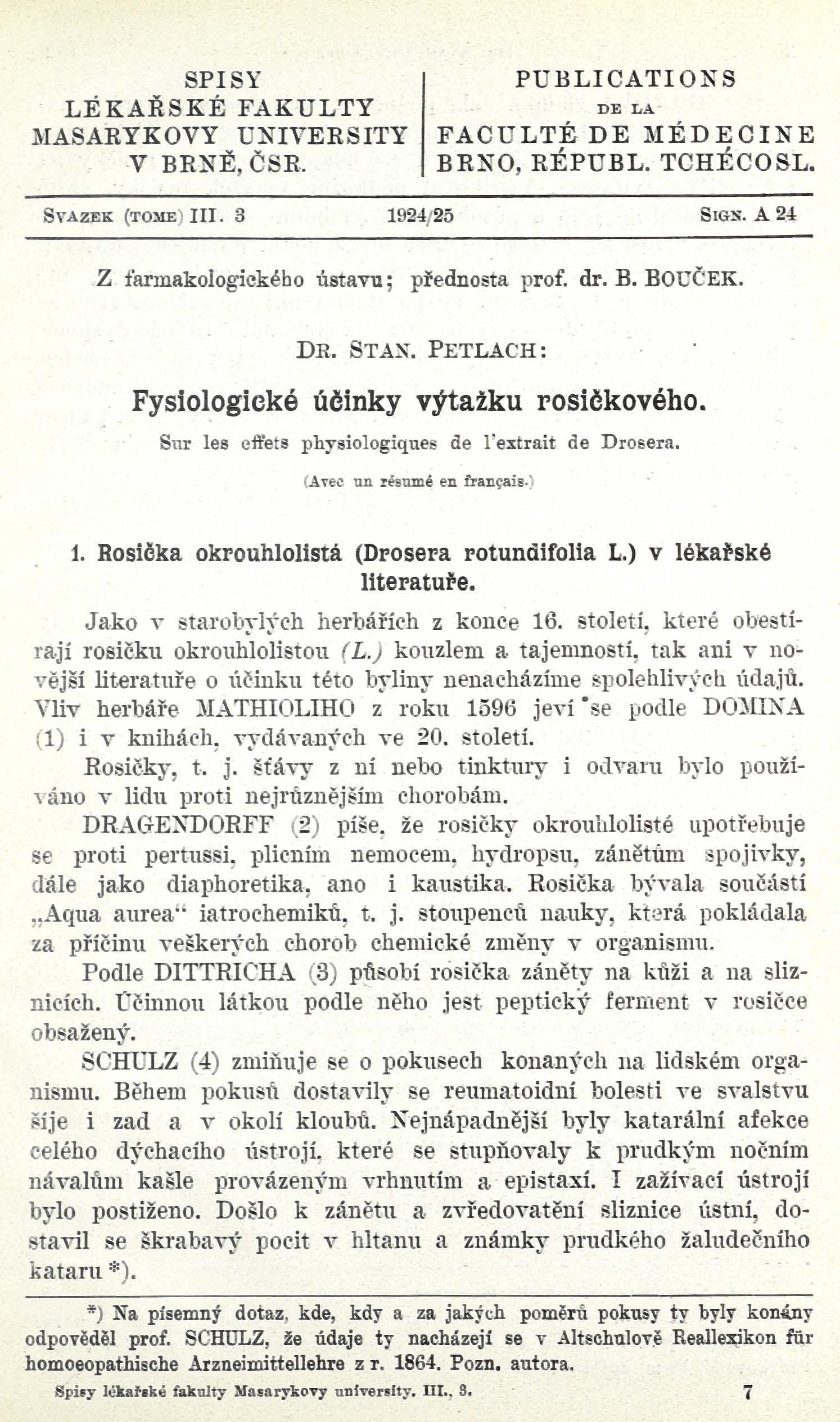 Obálka pro Fysiologické účinky výtažku rosičkového / Sur les effets physiologiques de l'extrait de Drosera