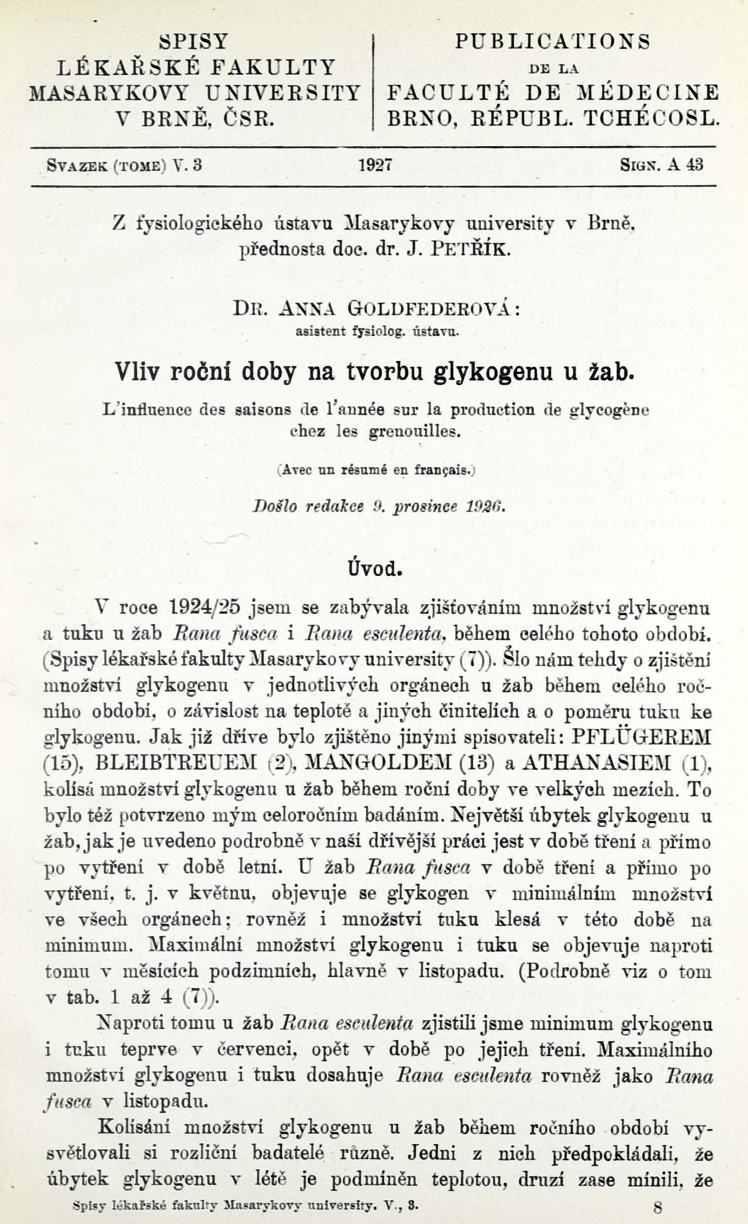 Obálka pro Vliv roční doby na tvorbu glykogenu u žab / L'influence des saisons de l'année sur la production de glycogène chez les grenouilles