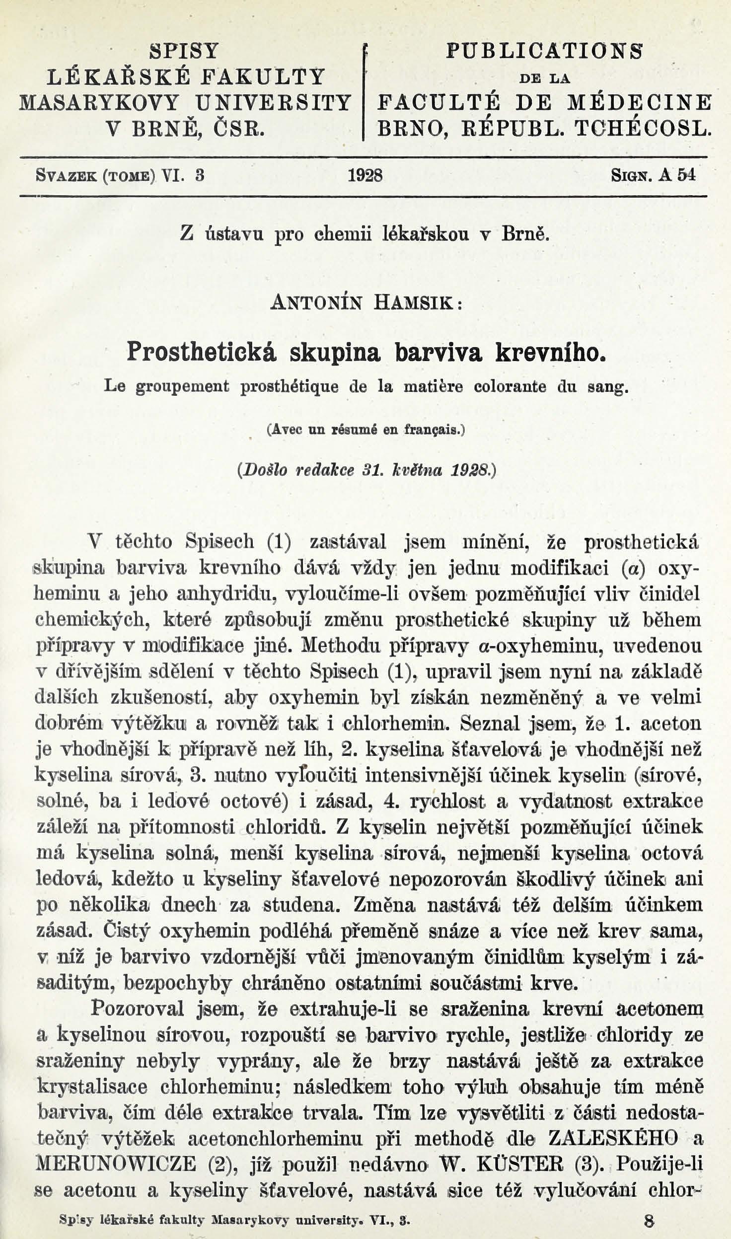 Obálka pro Prosthetická skupina barviva krevního / Le groupement prosthétique de la matière colorante du sang