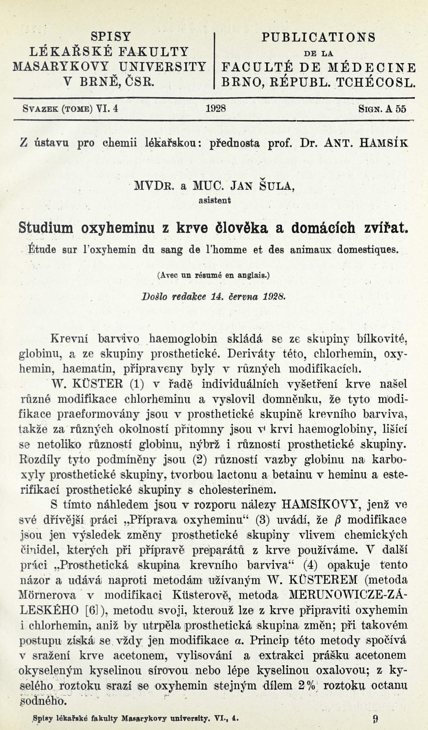 Obálka pro Studium oxyheminu z krve člověka a domácích zvířat / Étude sur l'oxyhemin du sang de l'homme et des animaux domestiques