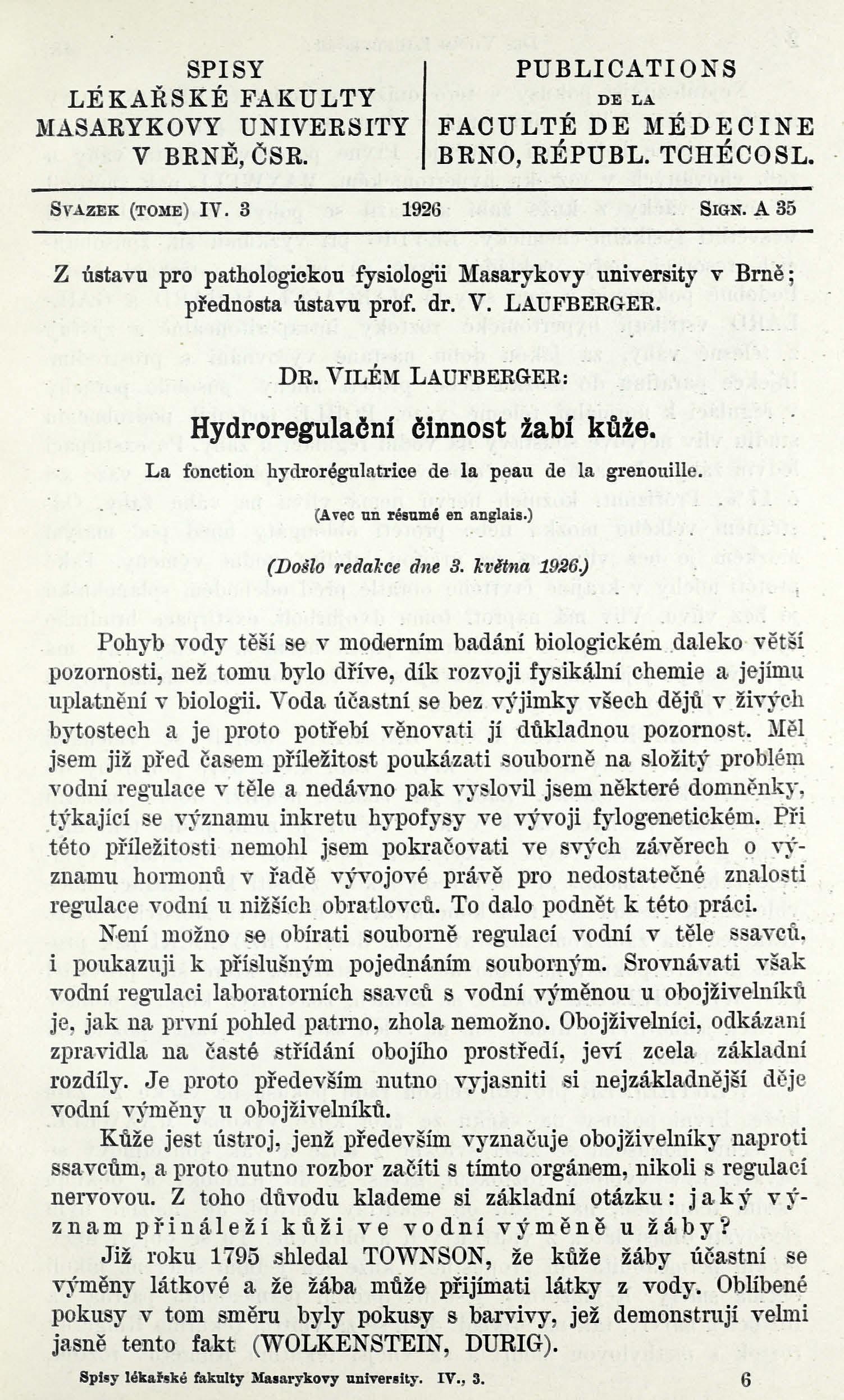 Obálka pro Hydroregulační činnost žabí kůže / La fonction hydrorégulatrice de la peau de la grenouille