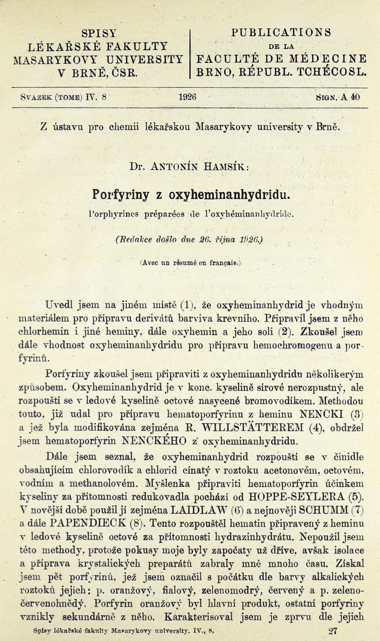 Obálka pro Porfyriny z oxyheminanhydridu / Porfhyrines préparées de l'oxyhéminanhydride