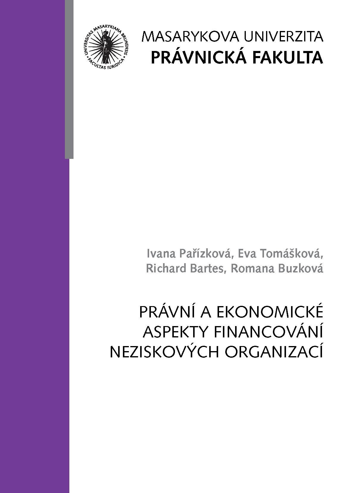 Obálka pro Právní a ekonomické aspekty financování neziskových organizací