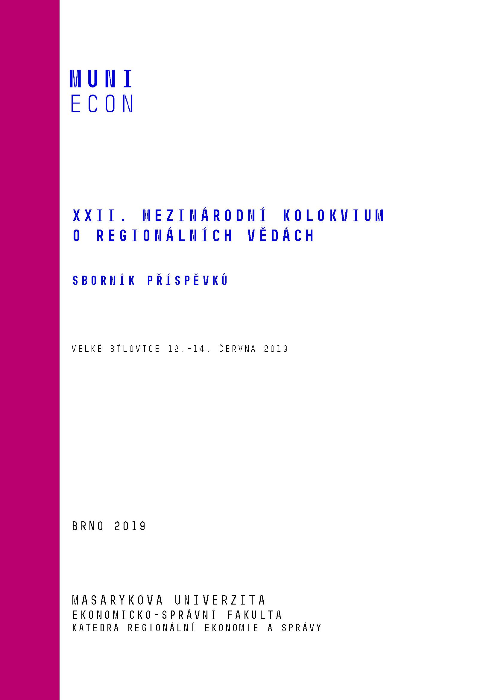 Obálka pro XXII. Mezinárodní kolokvium o regionálních vědách. Sborník příspěvků