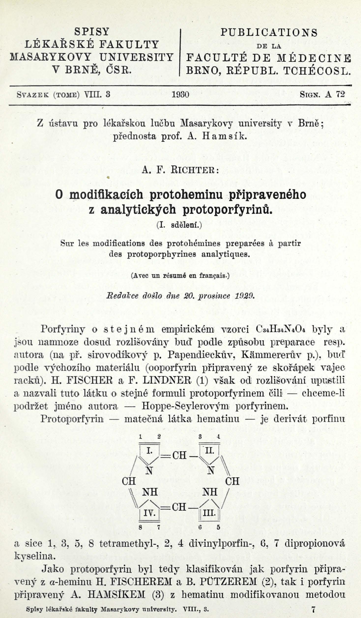 Obálka pro O modifikacích protoheminu připraveného z analytických protoporfyrinů : (I. sdělení) / Sur les modifications des protohémines préparées à partir des protoporphyrines analytiques