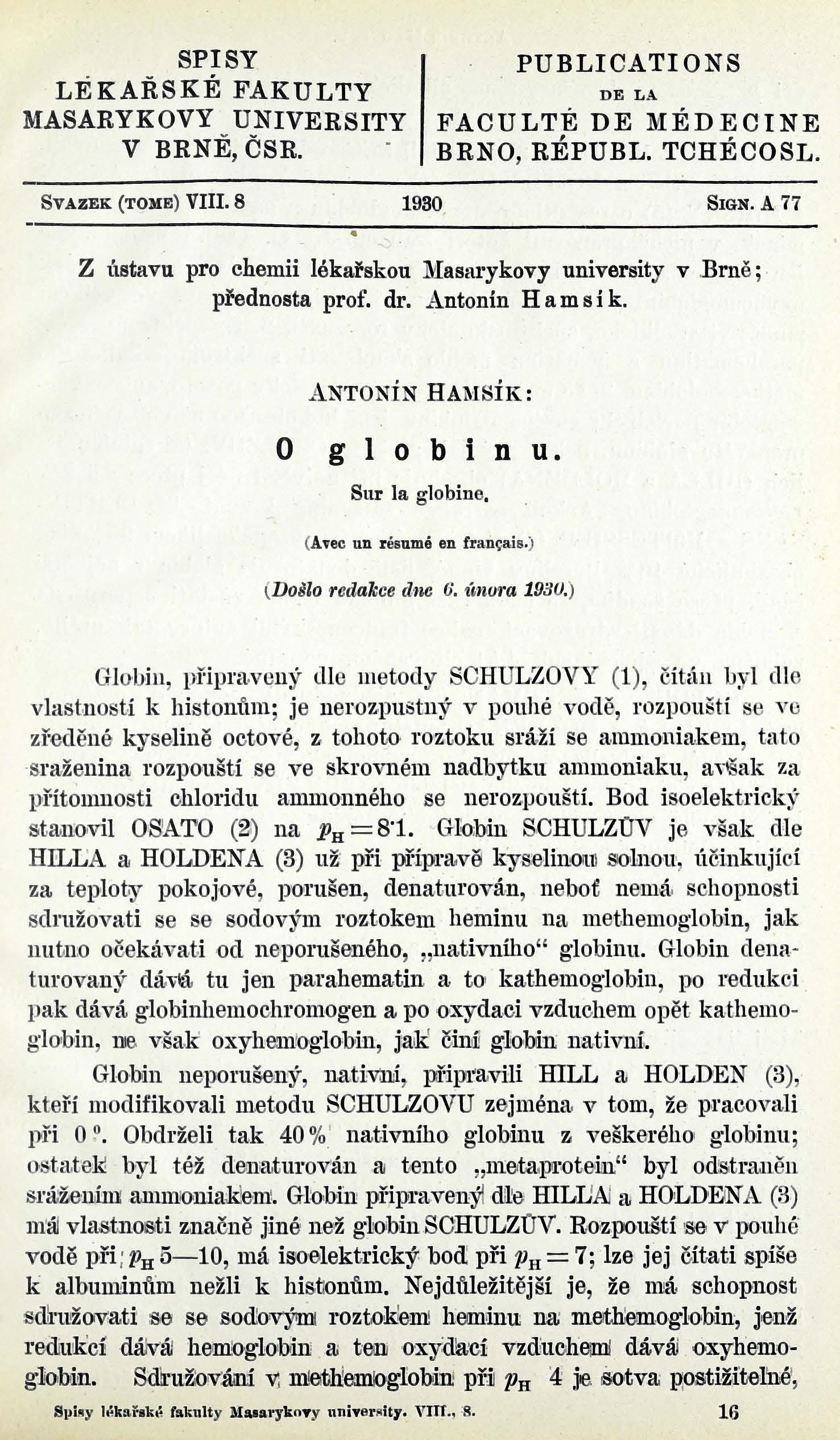 Obálka pro O globinu / Sur la globine