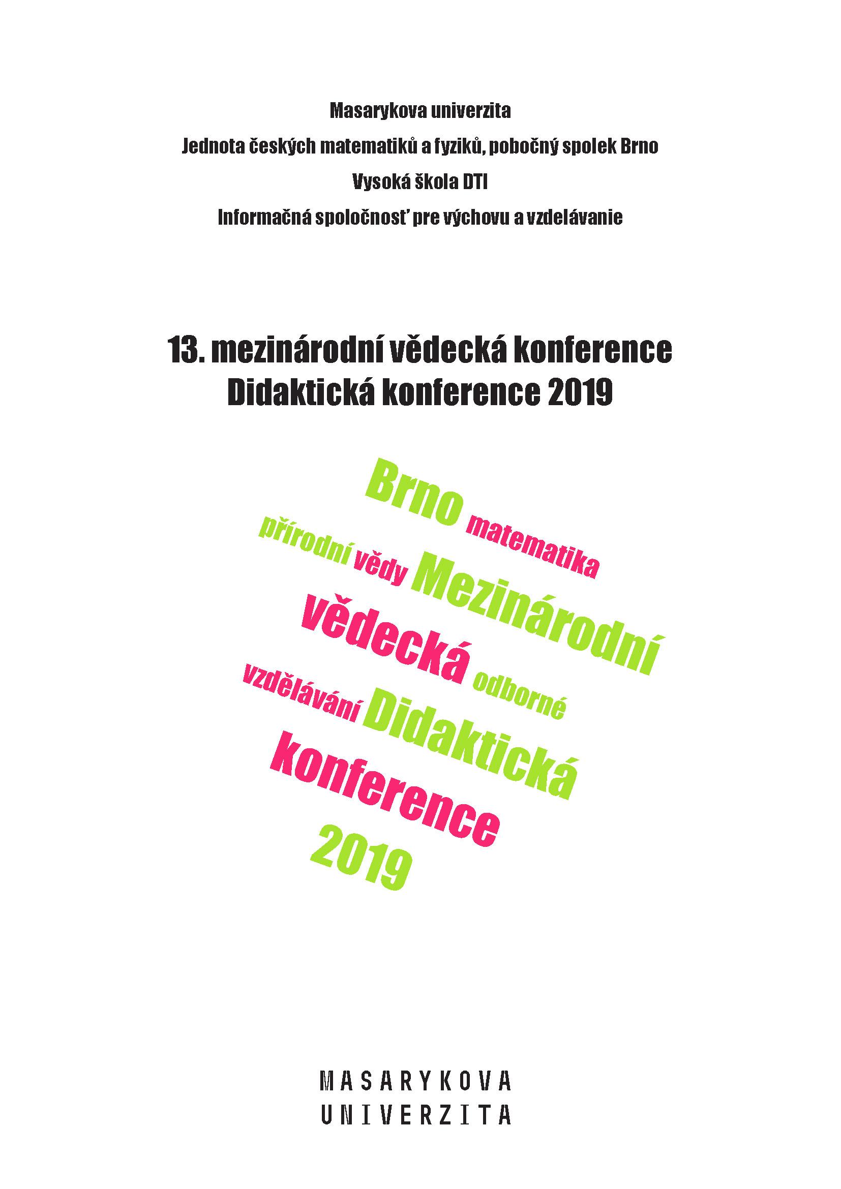 Obálka pro 13. mezinárodní vědecká konference Didaktická konference 2019. Sborník příspěvků