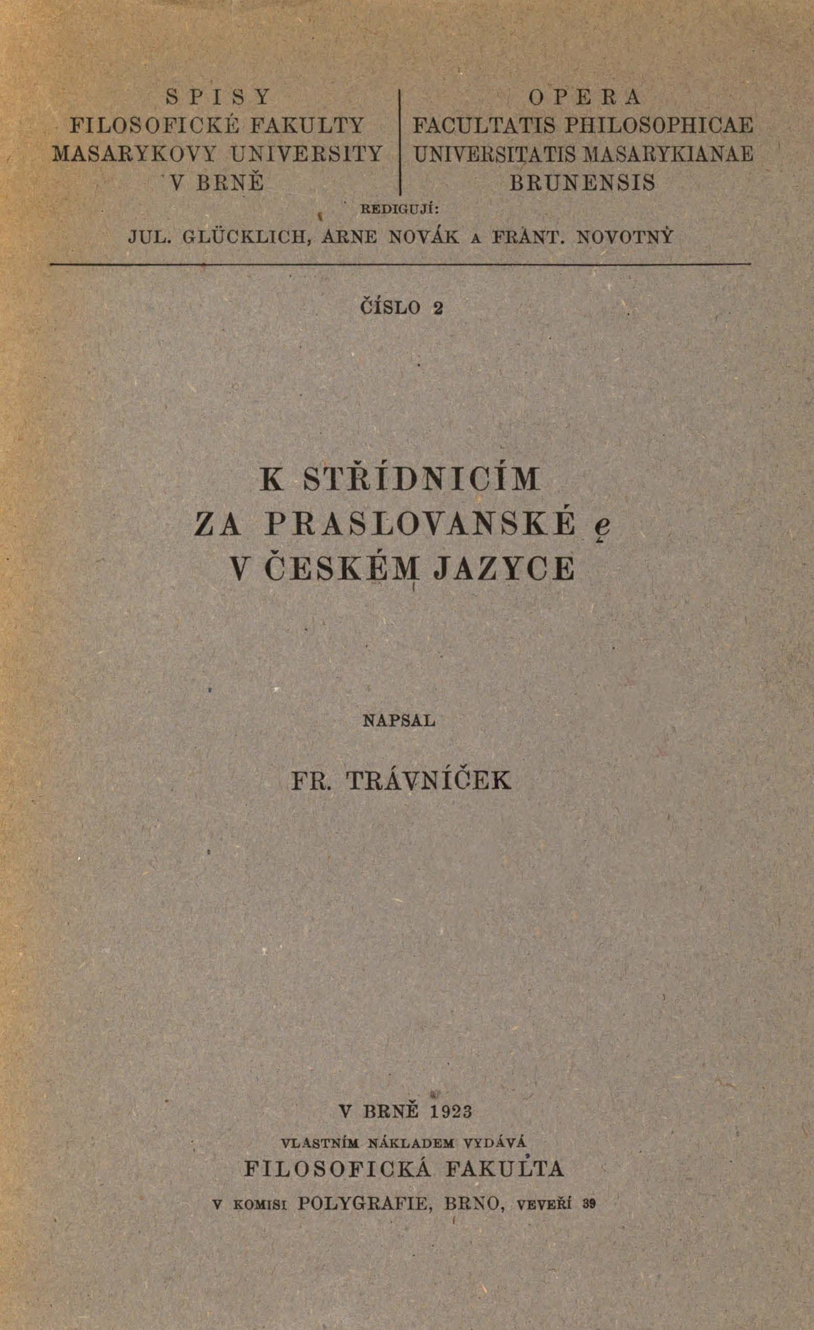 Obálka pro K střídnicím za praslovanské ę v českém jazyce