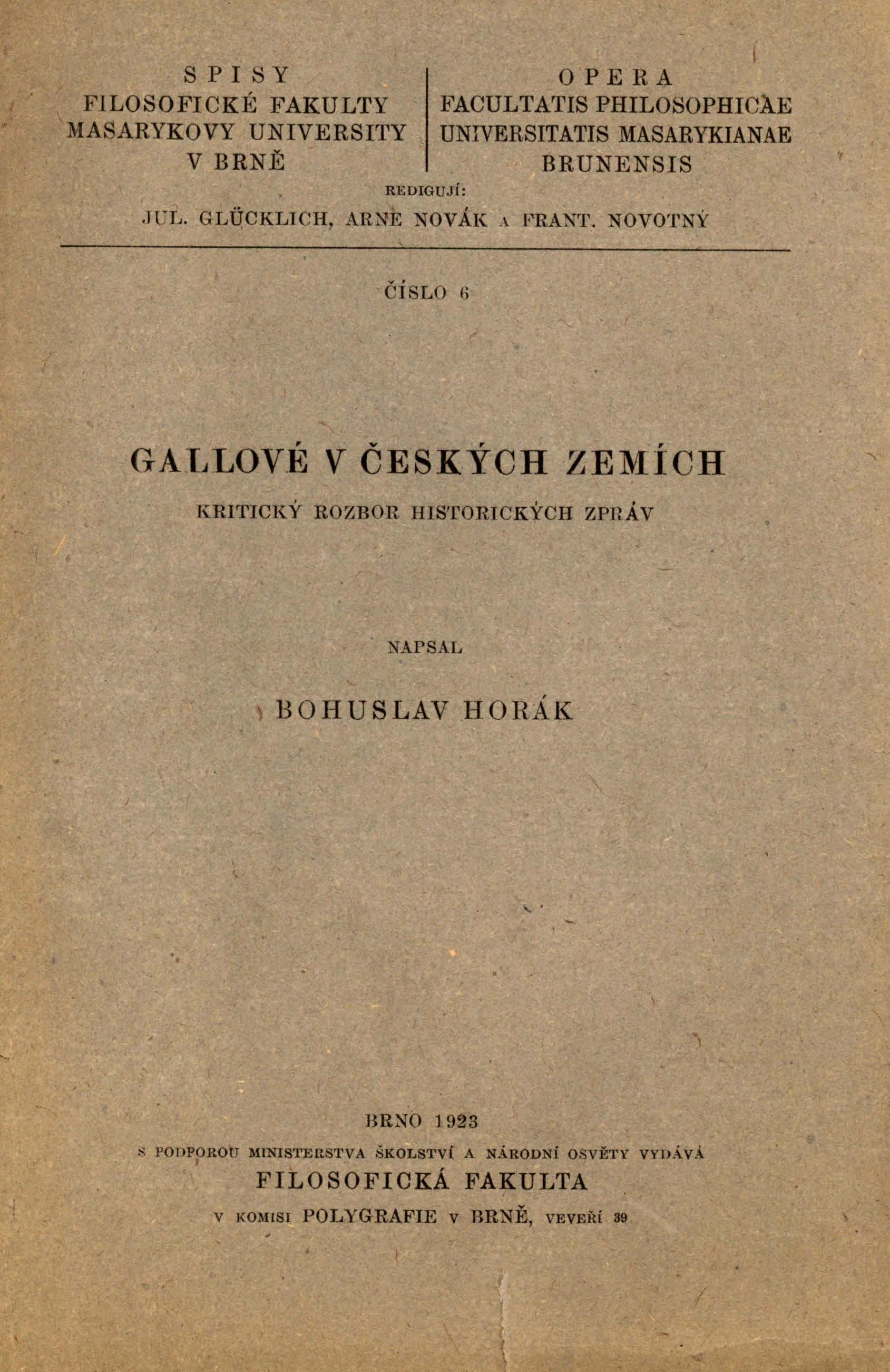Obálka pro Gallové v českých zemích : kritický rozbor historických zpráv