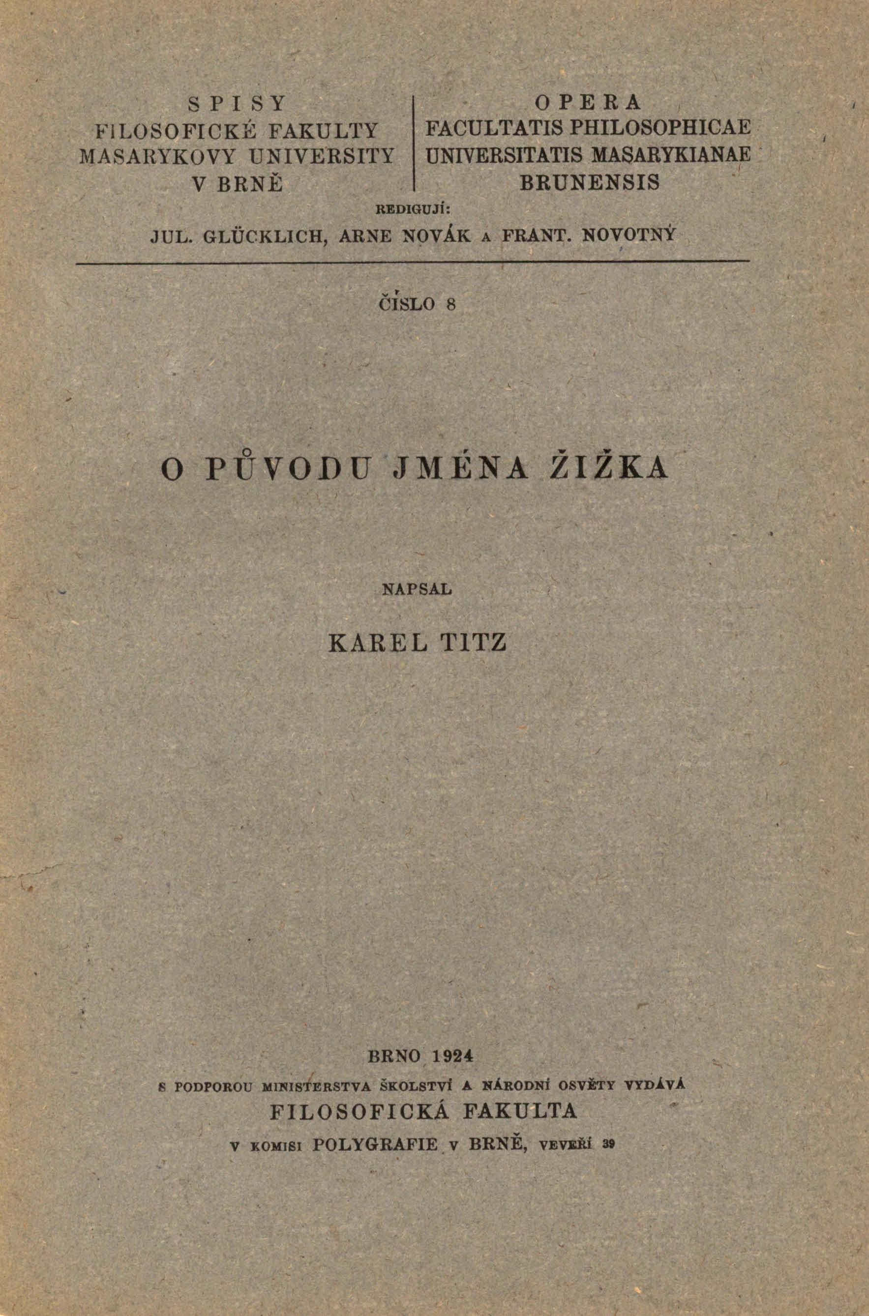 Obálka pro O původu jména Žižka