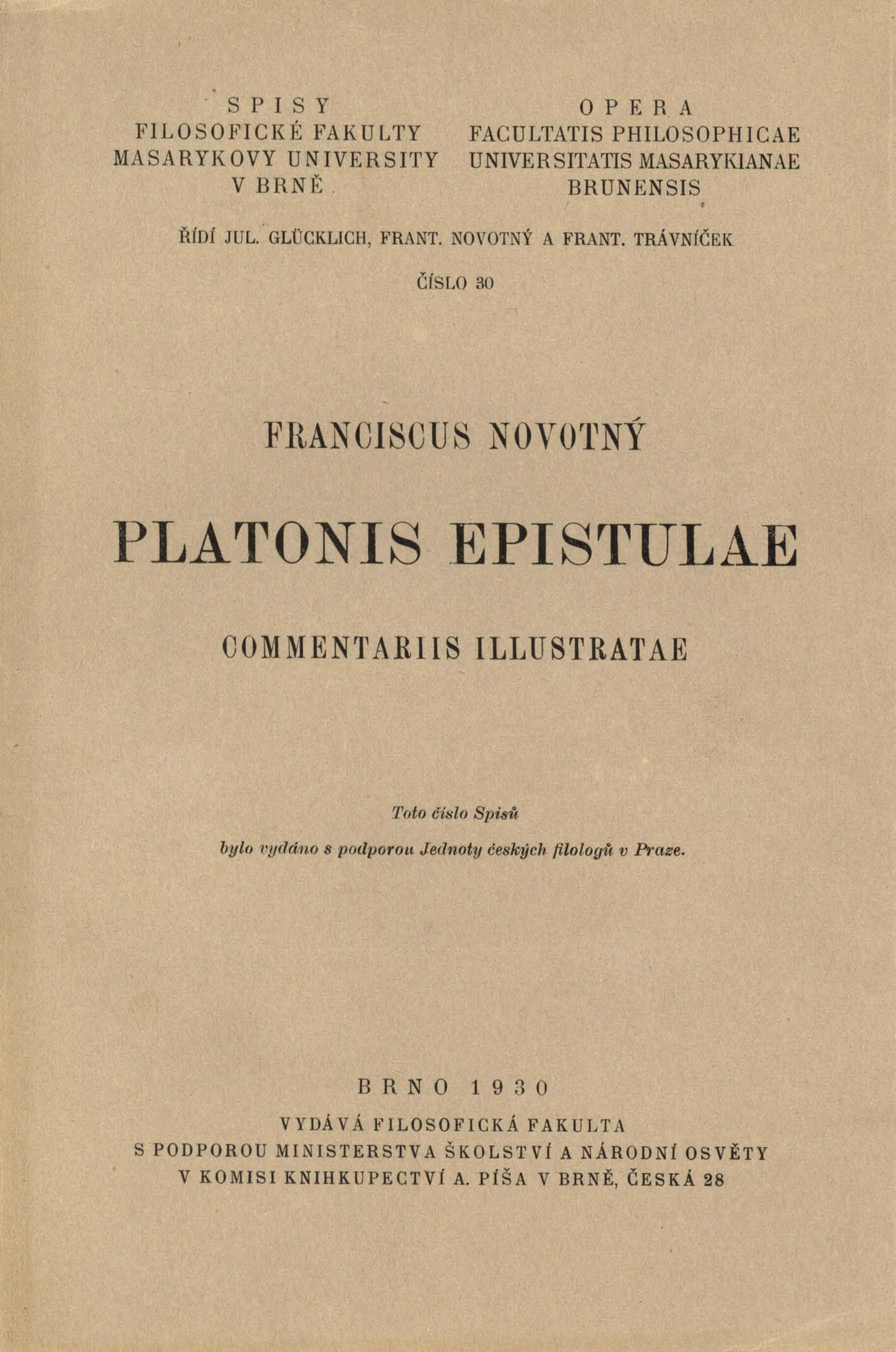 Obálka pro Platonis epistulae commentariis illustratae