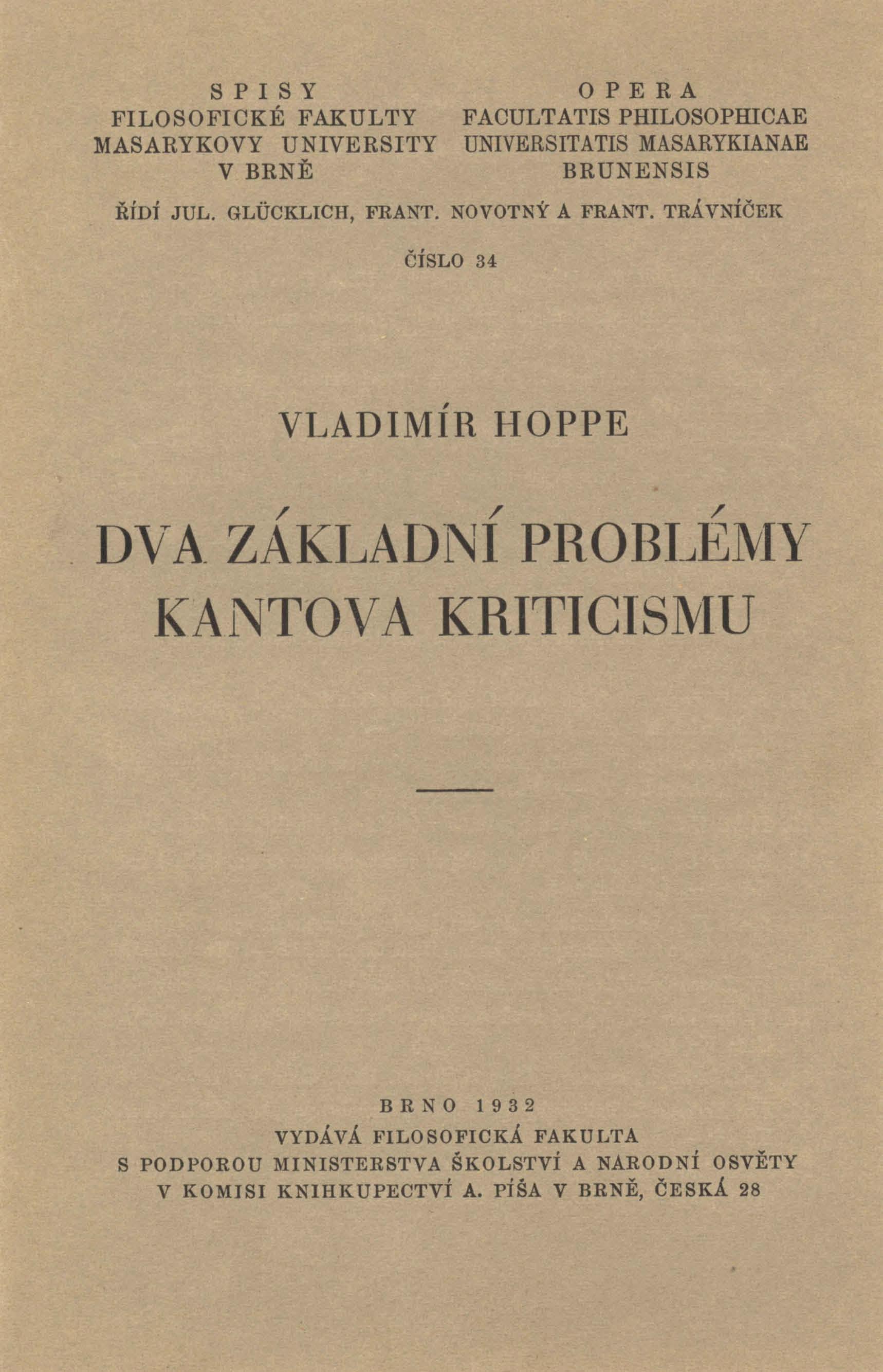 Obálka pro Dva základní problémy Kantova kriticismu