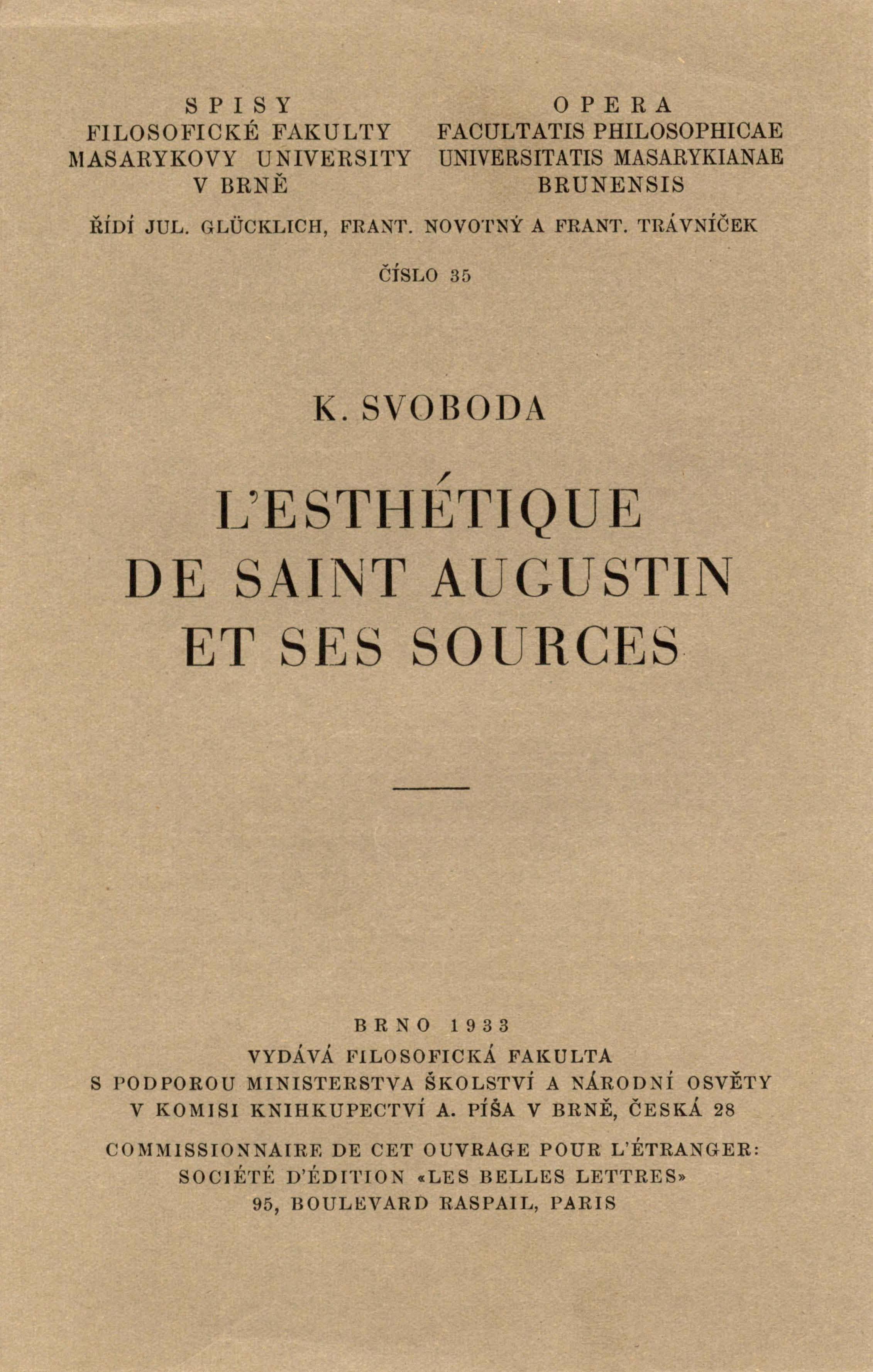 Obálka pro L'Esthétique de Saint Augustin et ses sources