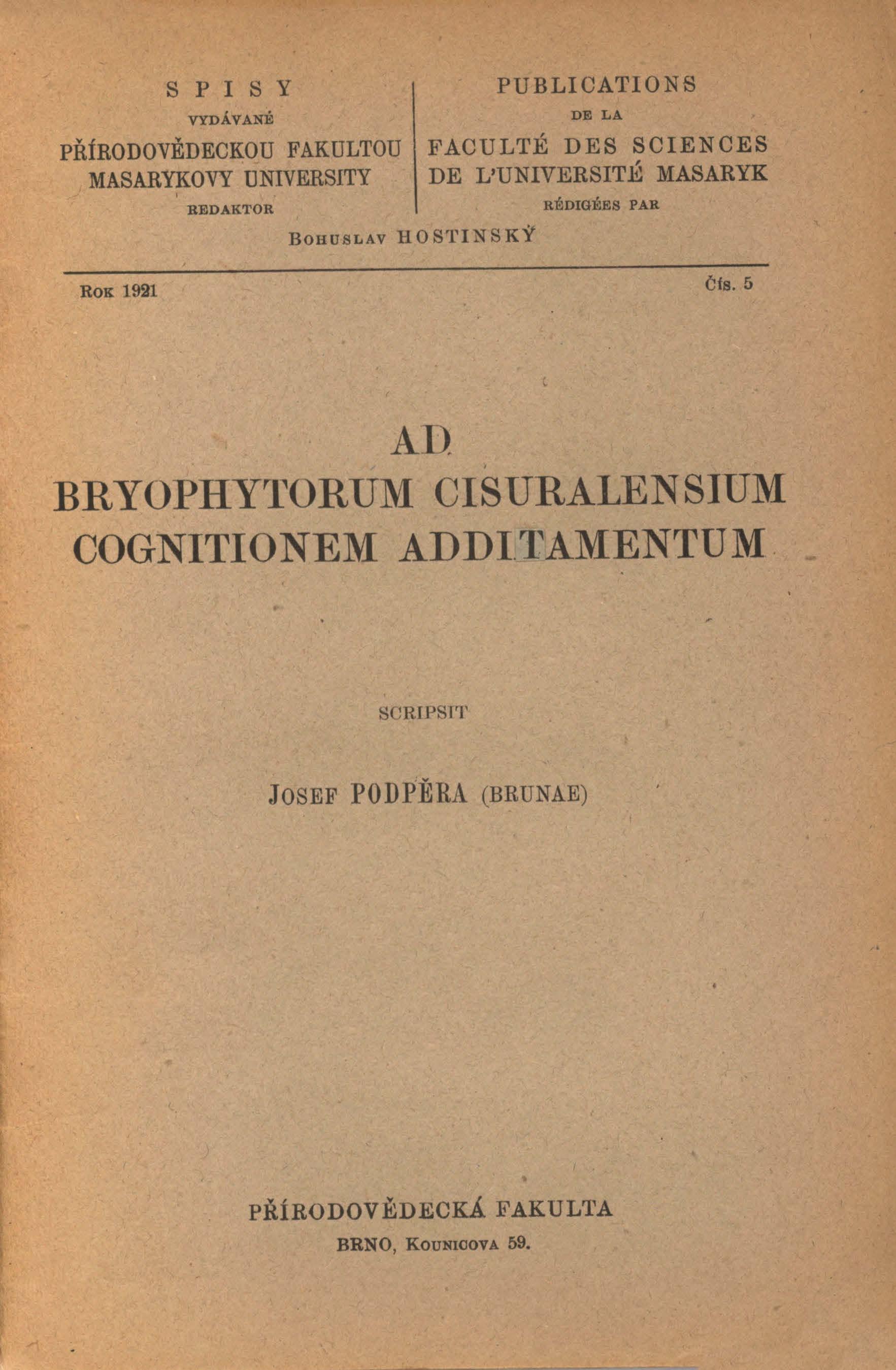 Obálka pro Ad bryophytorum cisuralensium cognitionem additamentum