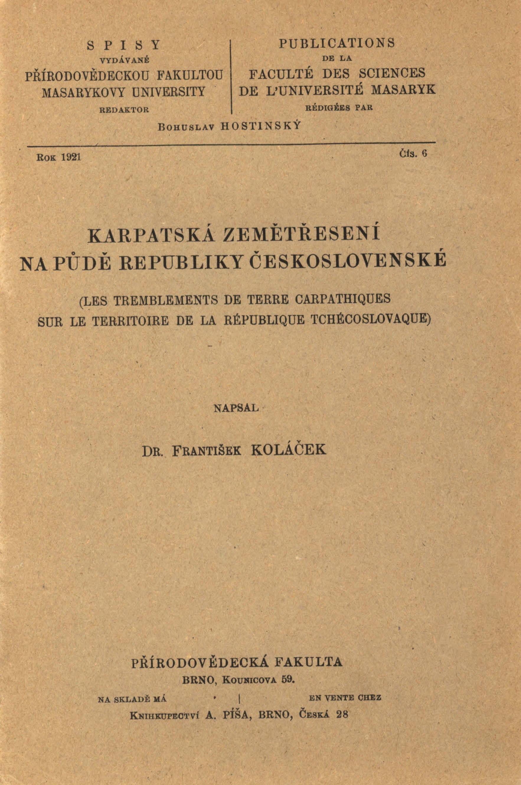 Obálka pro Karpatská zemětřesení na půdě republiky Československé