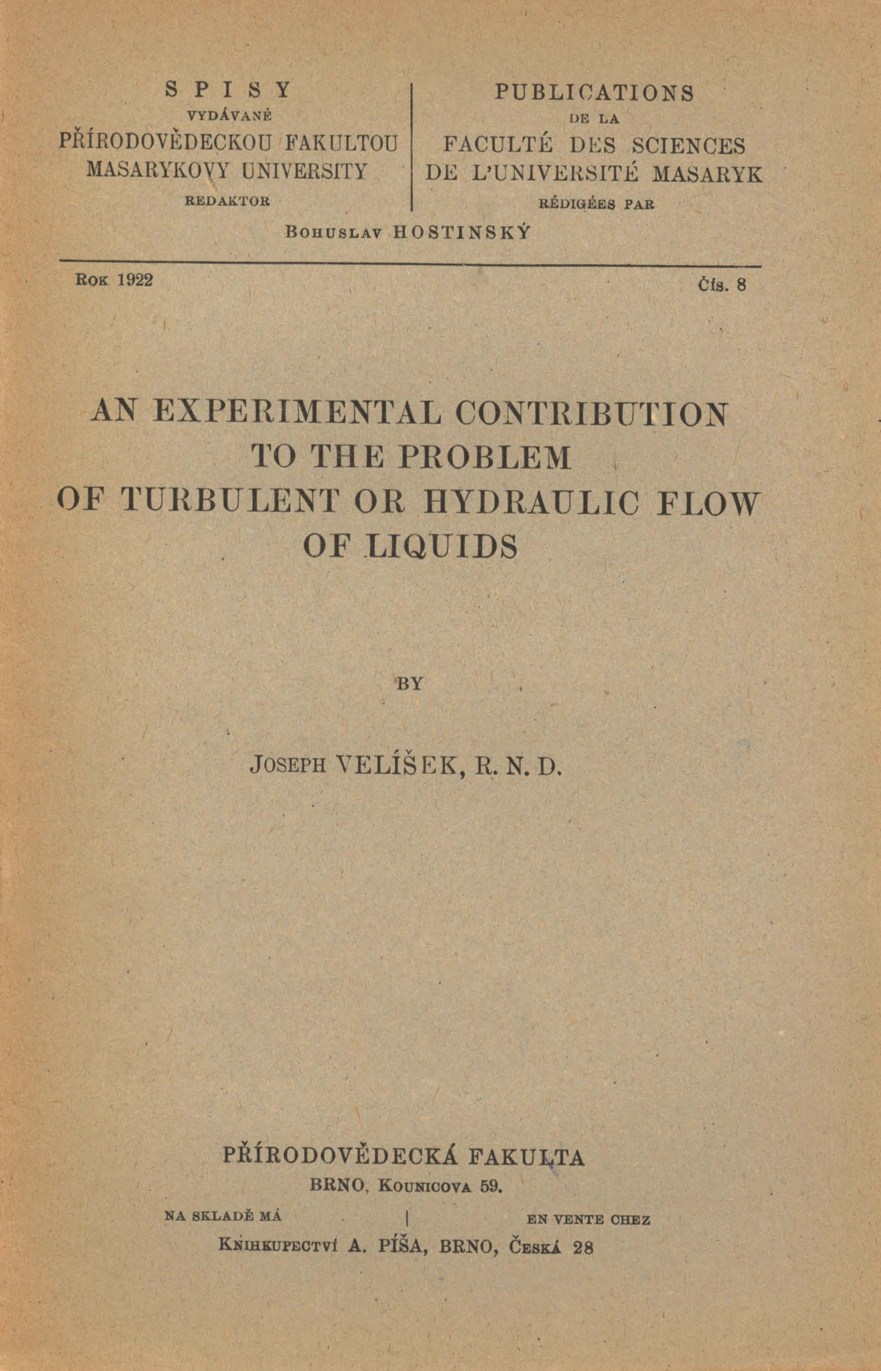 Obálka pro An experimental contribution to the problem of turbulent of hydraulic flow of liquids