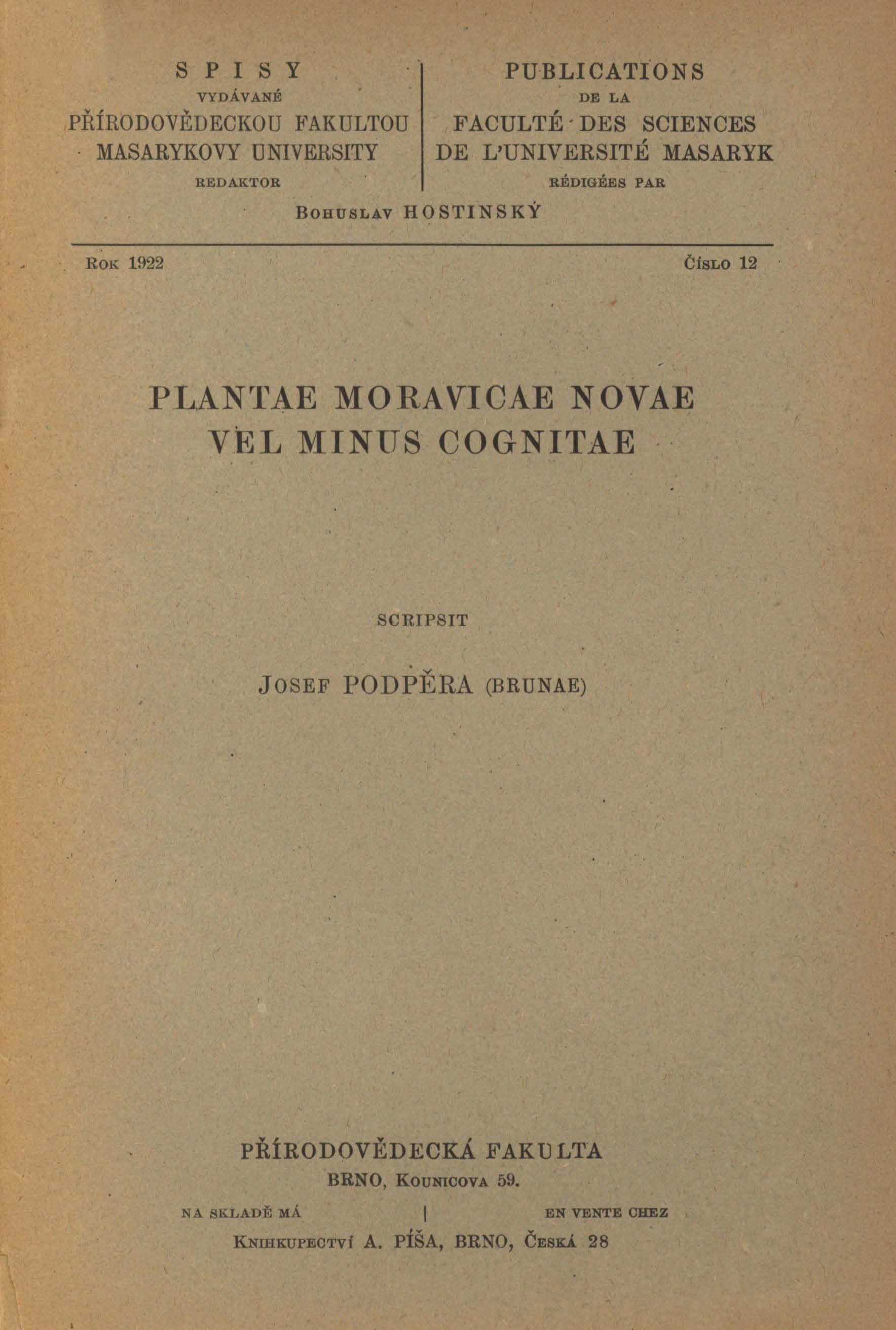 Obálka pro Plantae Moravicae novae vel minus cognitae