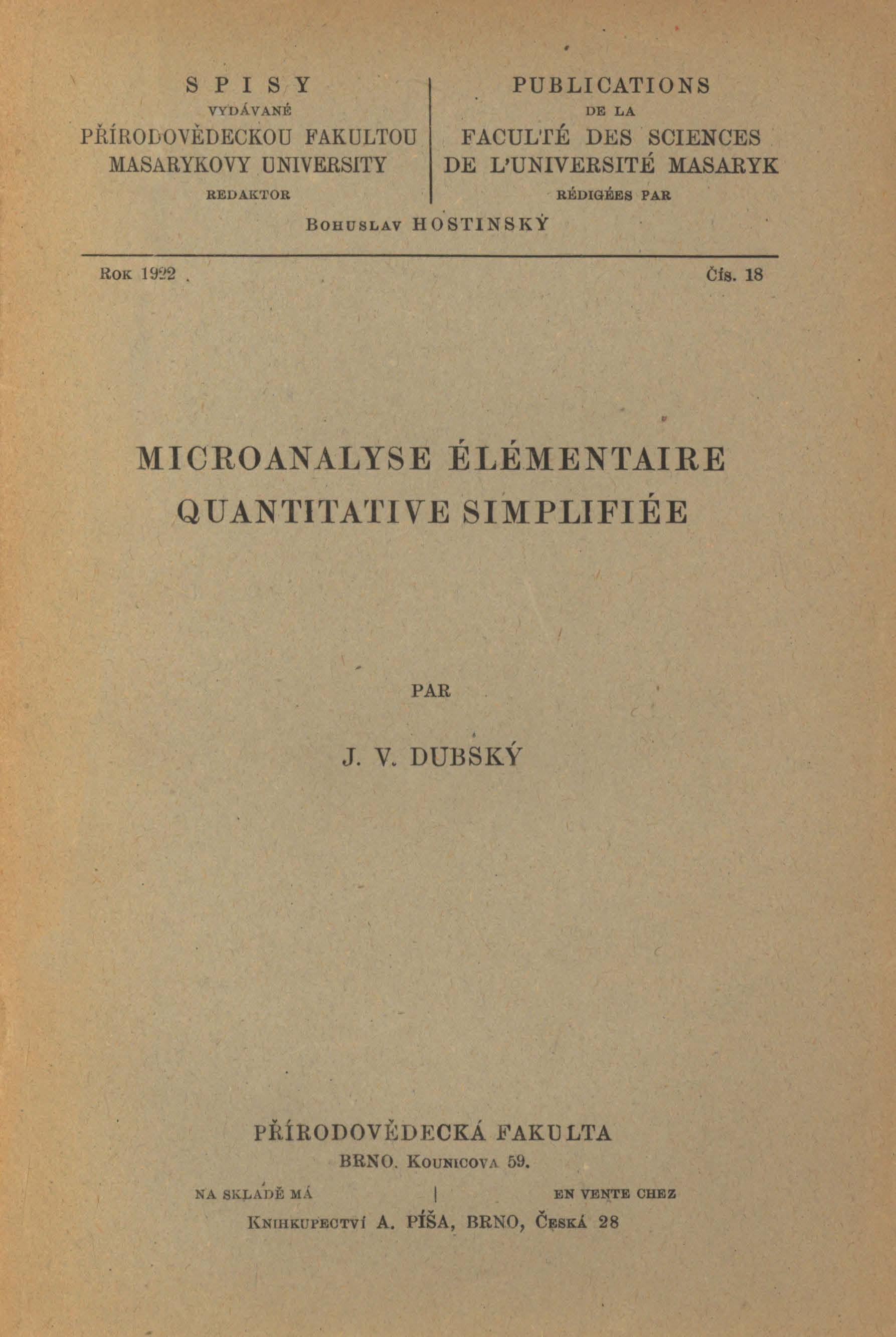 Obálka pro Microanalyse élémentaire quantitative simplifiée
