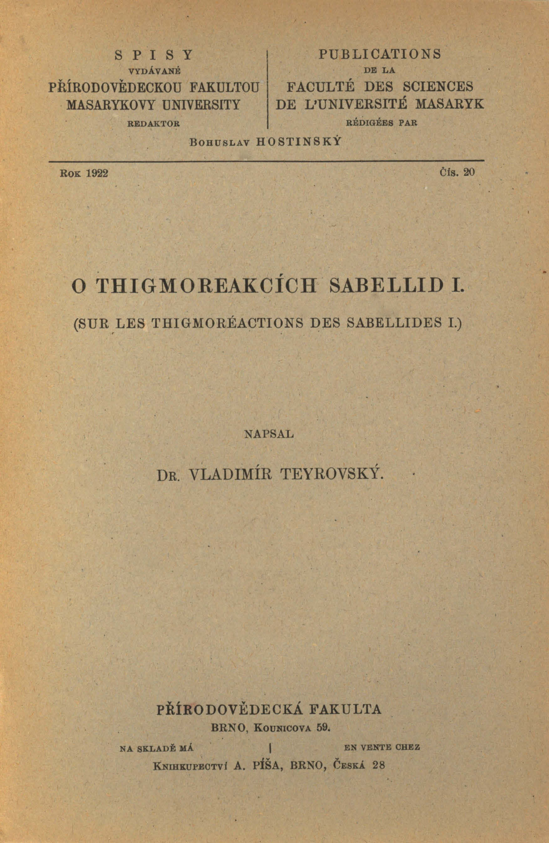 Obálka pro O thigmoreakcích sabellid I.
