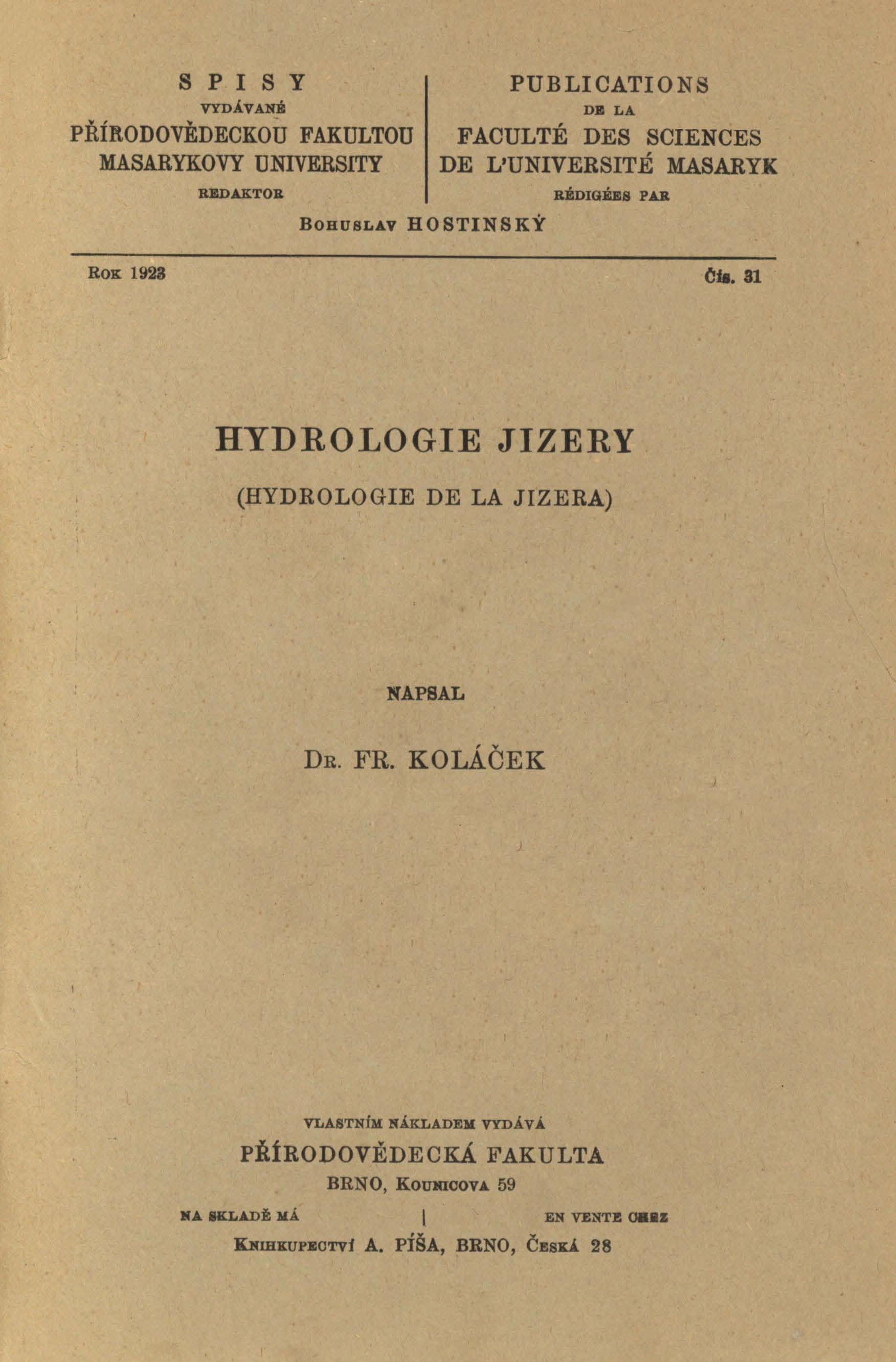Obálka pro Hydrologie Jizery