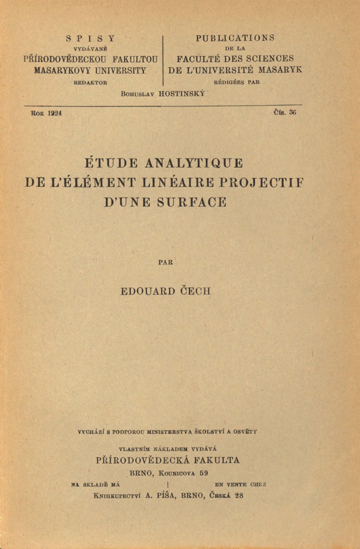 Obálka pro Étude analytique de l'élément linéaire projectif d'une surface
