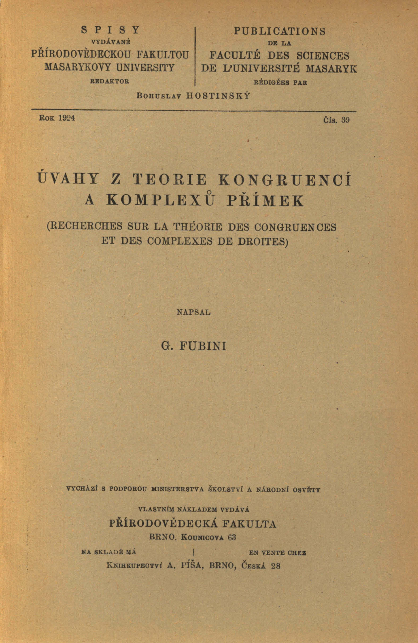 Obálka pro Úvahy z teorie kongruencí a komplexů přímek