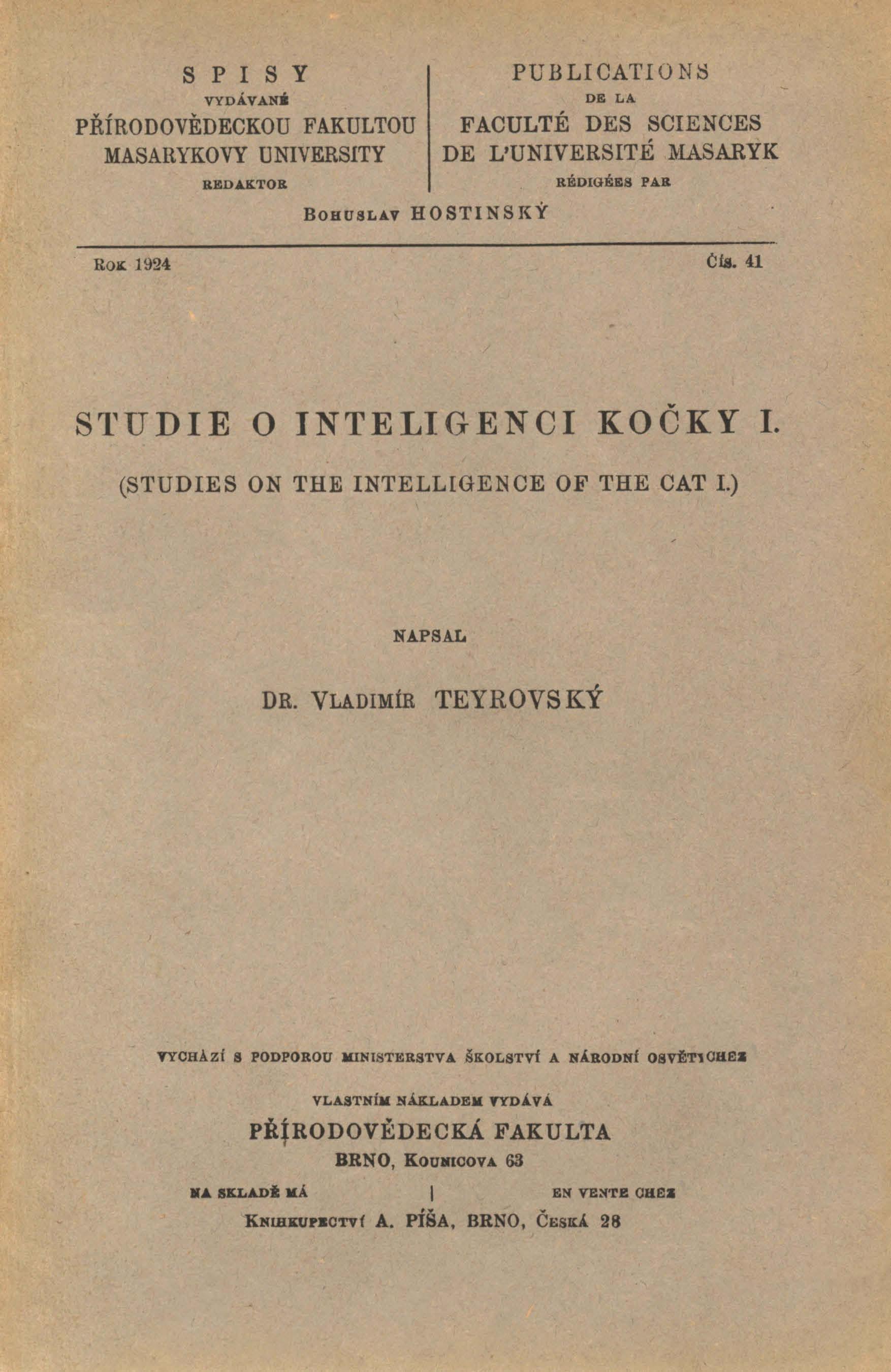 Obálka pro Studie o inteligenci kočky. I.